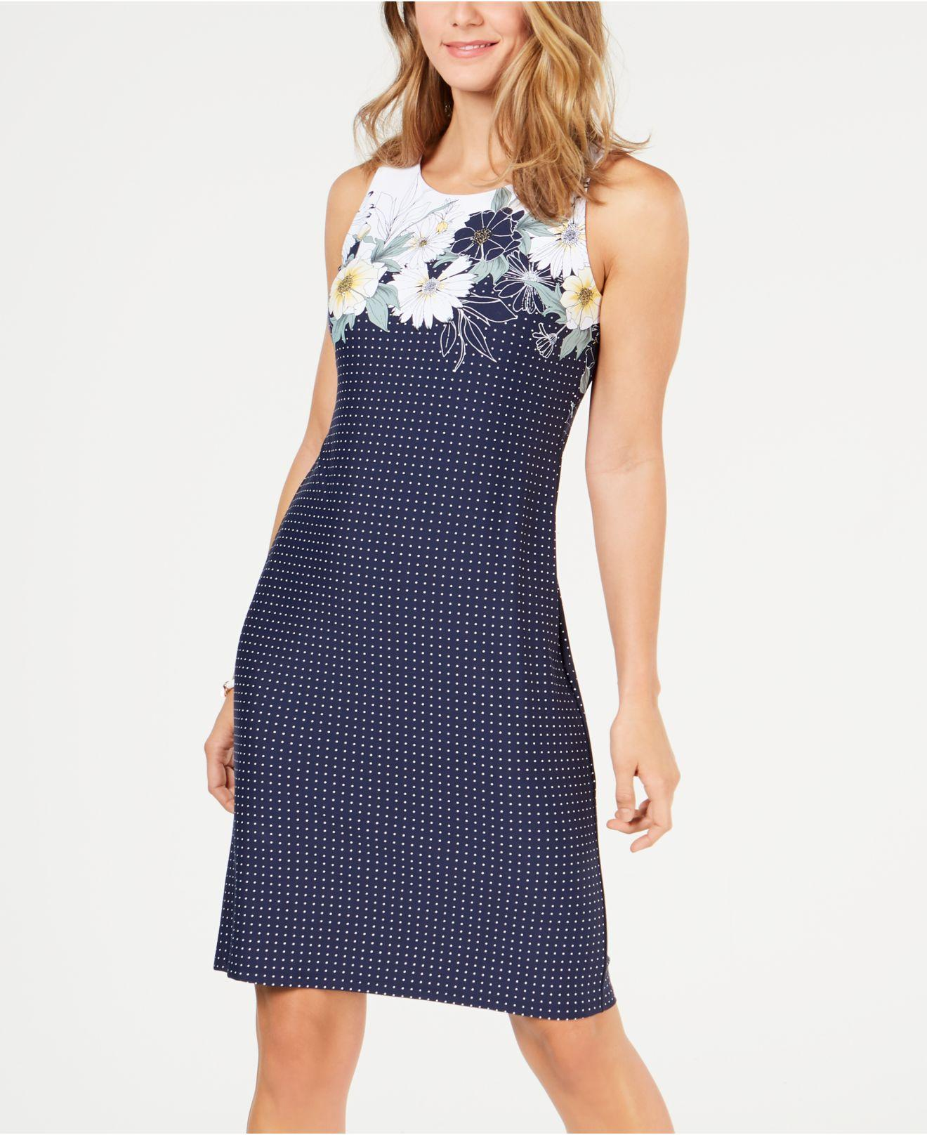 Charter Club Synthetic Floral Print Shift Dress Created For Macy S In Blue Lyst
