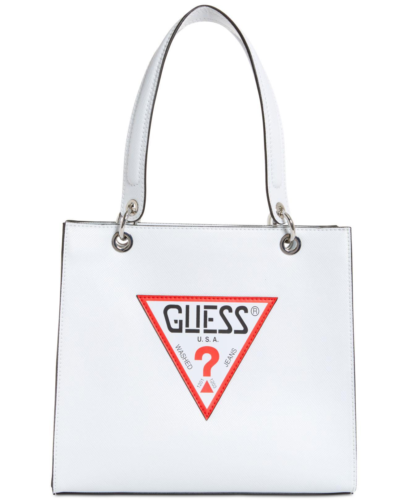 1f0baf7c5b Lyst - Guess Varsity Pop Logo Tote in White