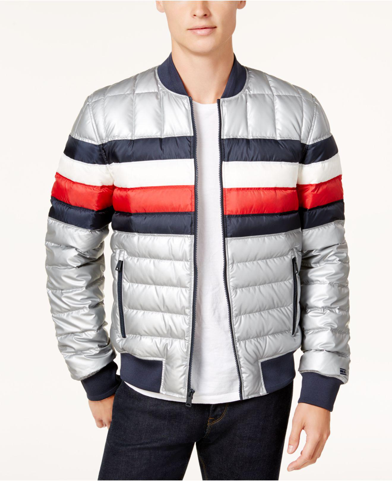 Tommy Hilfiger Mens Puffer Jacket with Stripes