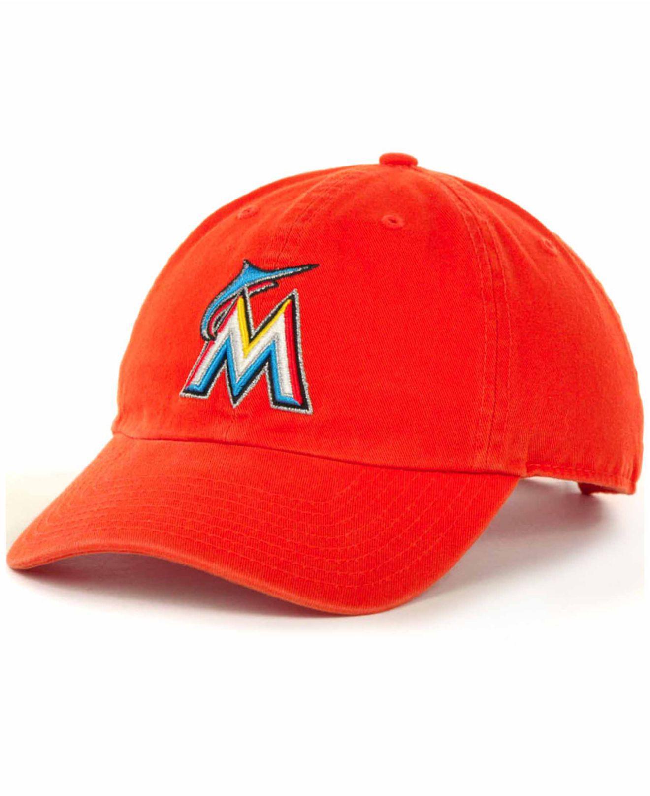 new arrivals f6695 fa648 ... mlb glimmer snapback baseball cap d9fbd 48b3d  order 47 brand. mens  orange miami marlins clean up hat 1a65d 85f00