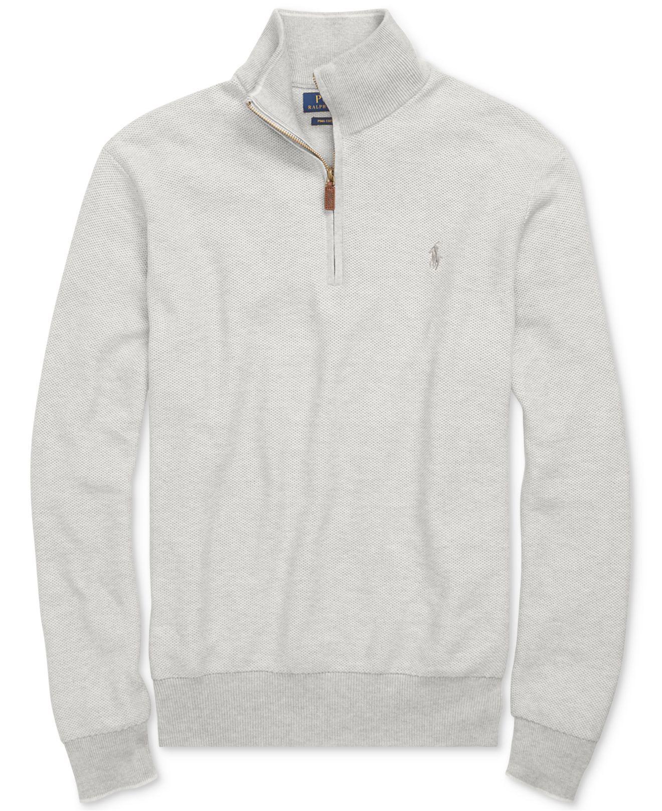 Polo ralph lauren Men's Big & Tall Half-zip Sweater in Gray for ...