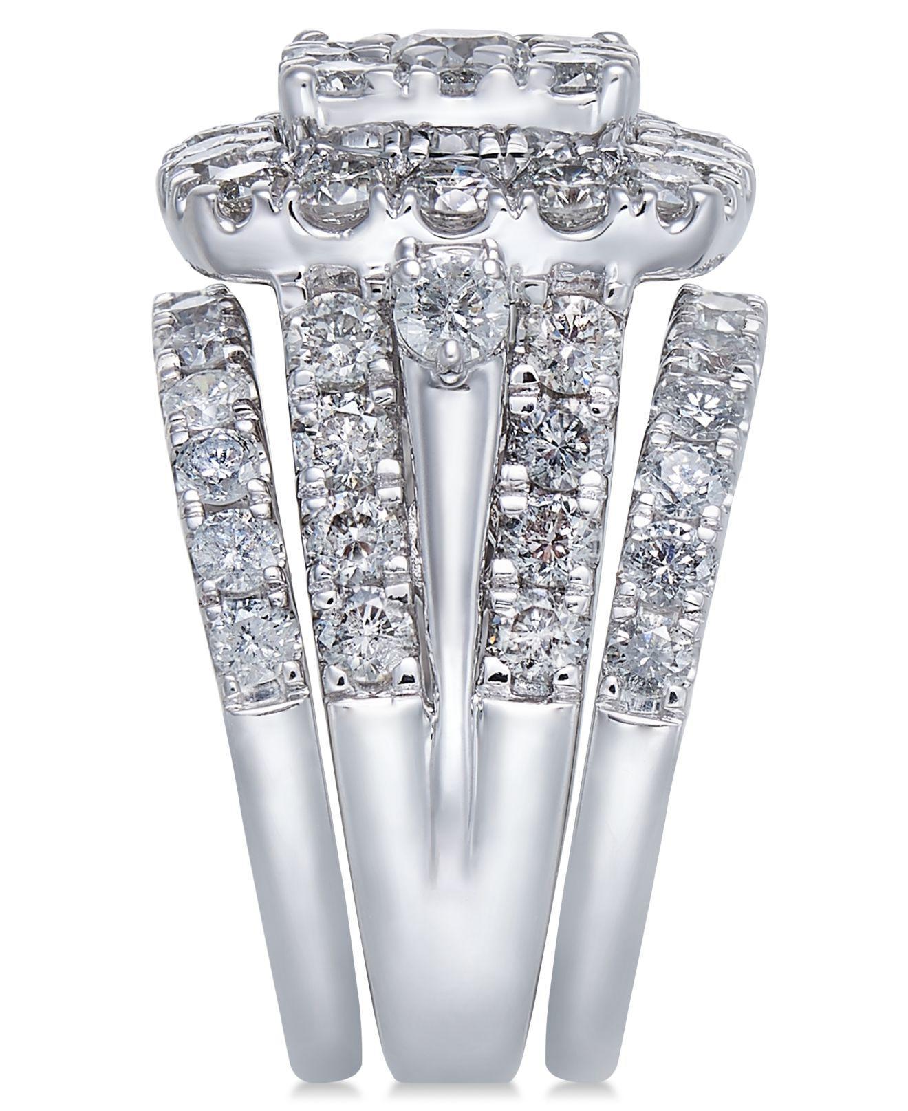 Diamond Cluster 3 Pc Bridal Set 4 Ct T W In 14k White Gold