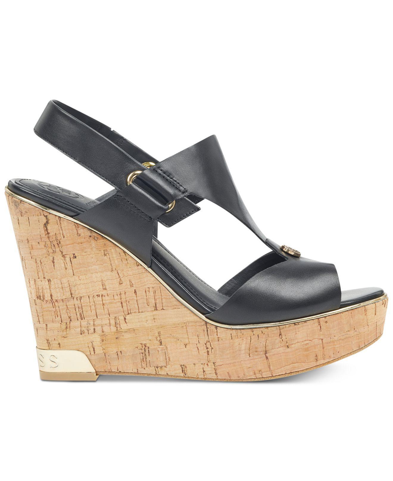 447bce82f9 Guess Hulda Platform Wedge Sandals in Black - Lyst