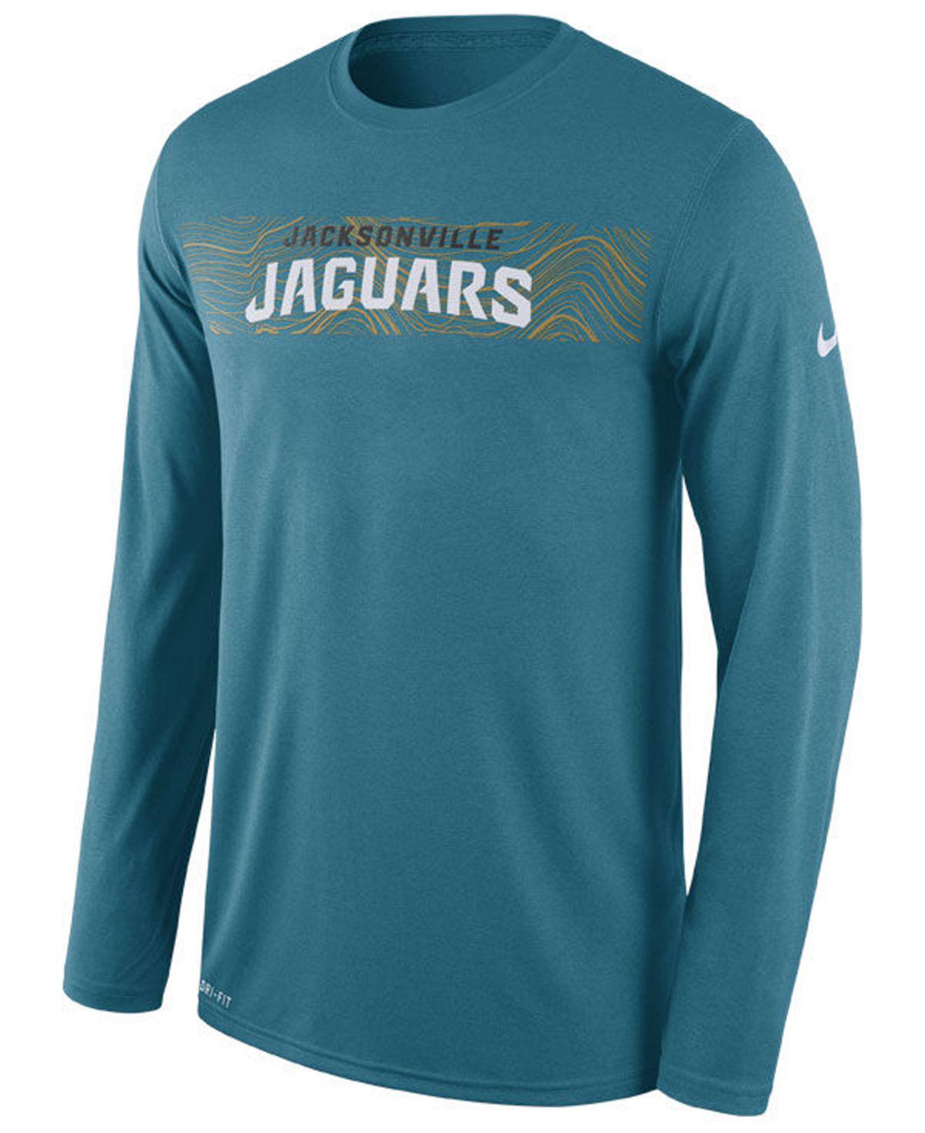 Nike. Men s Blue Jacksonville Jaguars Legend On-fileld Seismic Long Sleeve T -shirt b0f1edc38