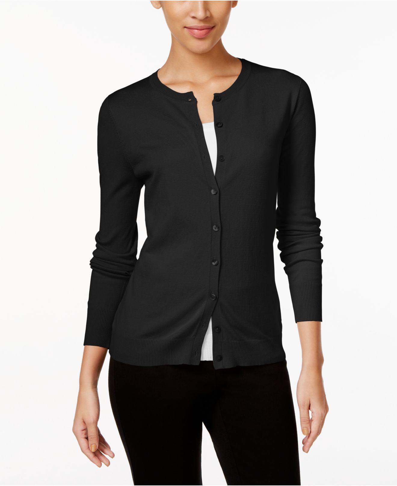 August silk Long-sleeve Cardigan in Black | Lyst