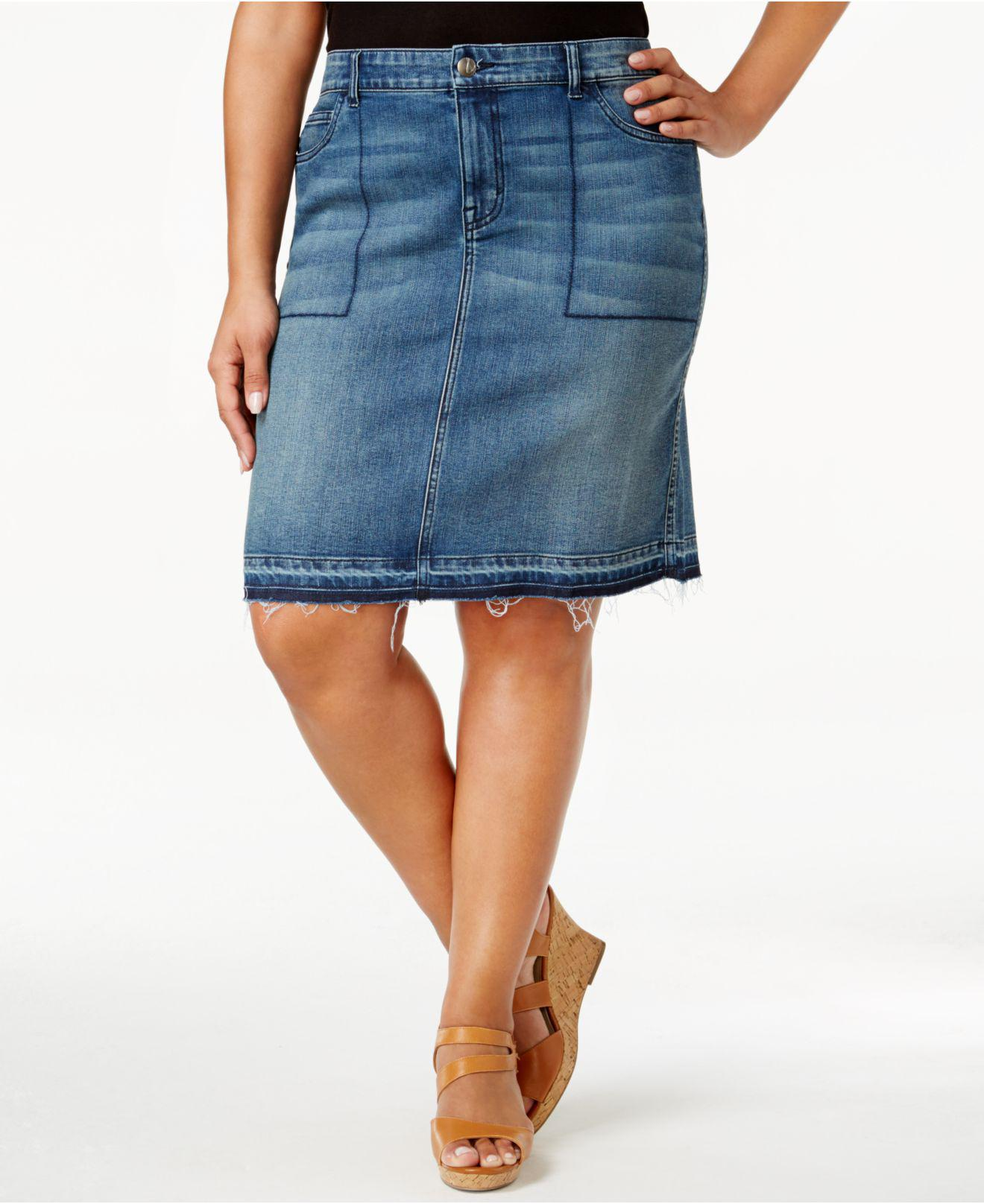 8a3a95b0b17 Lyst - Style   Co. Plus Size Distressed Denim Skirt in Blue