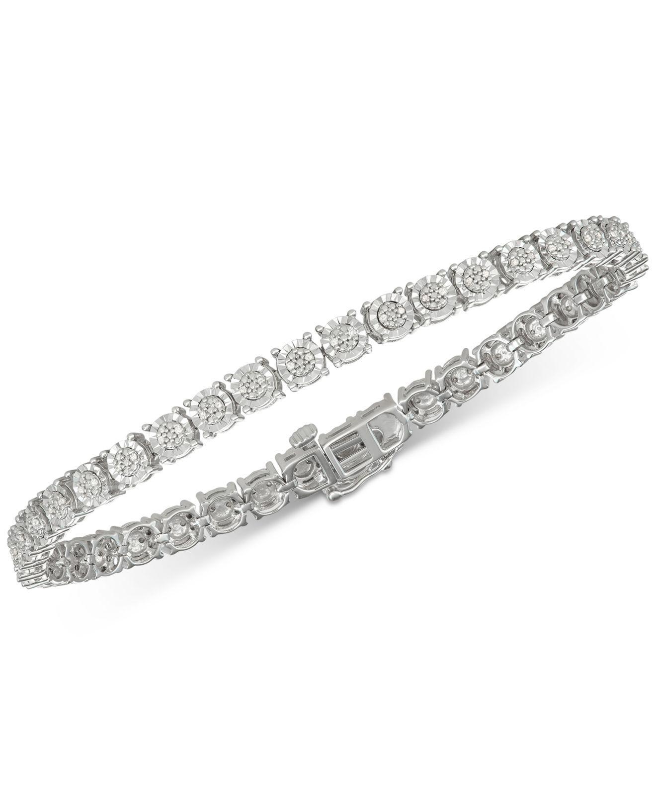 1 Carat TW Macys Tennis Round Diamond Silver Bracelet $200