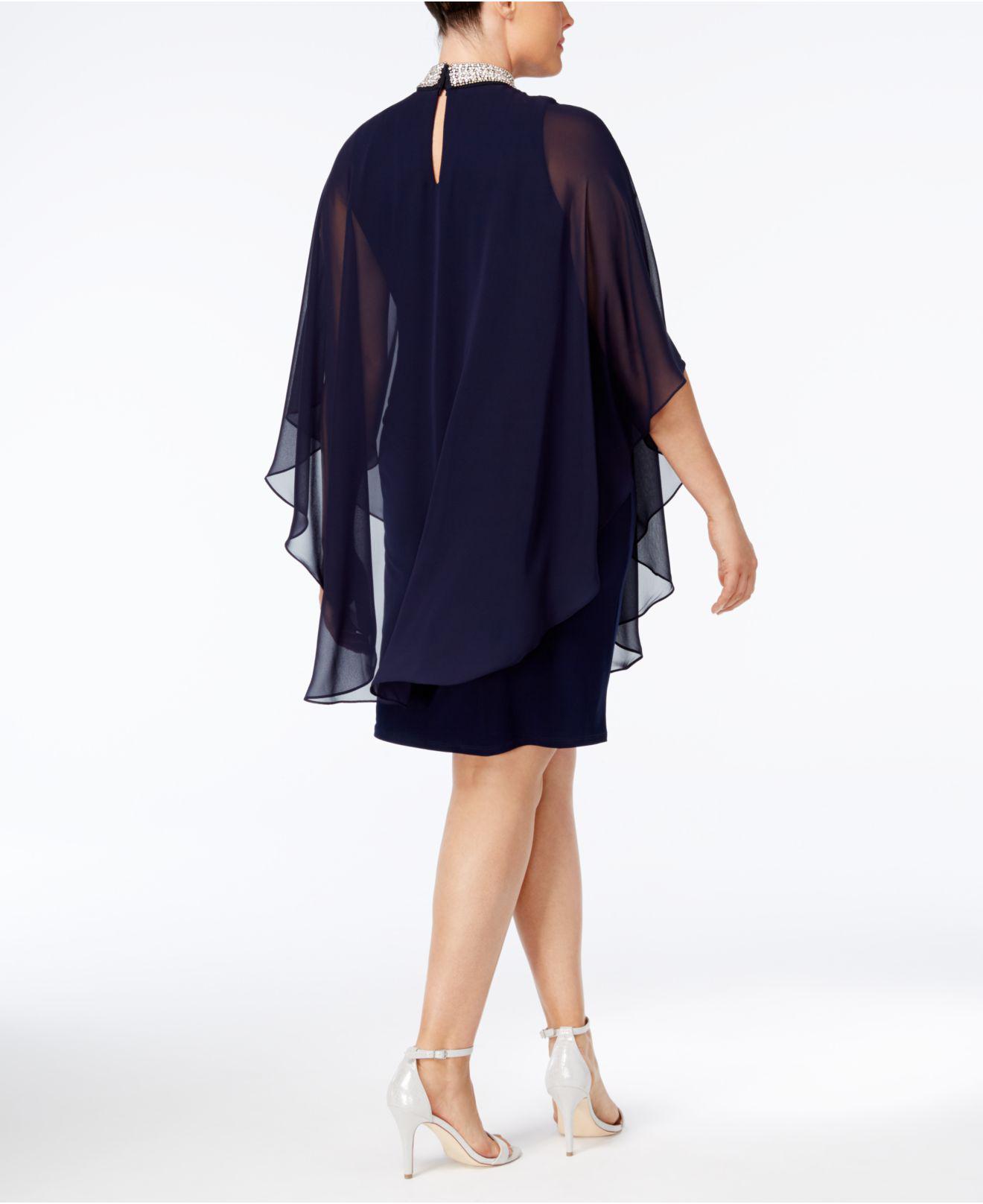 c87aa6424ef Lyst - Xscape Plus Size Embellished Chiffon-overlay Sheath Dress in Blue