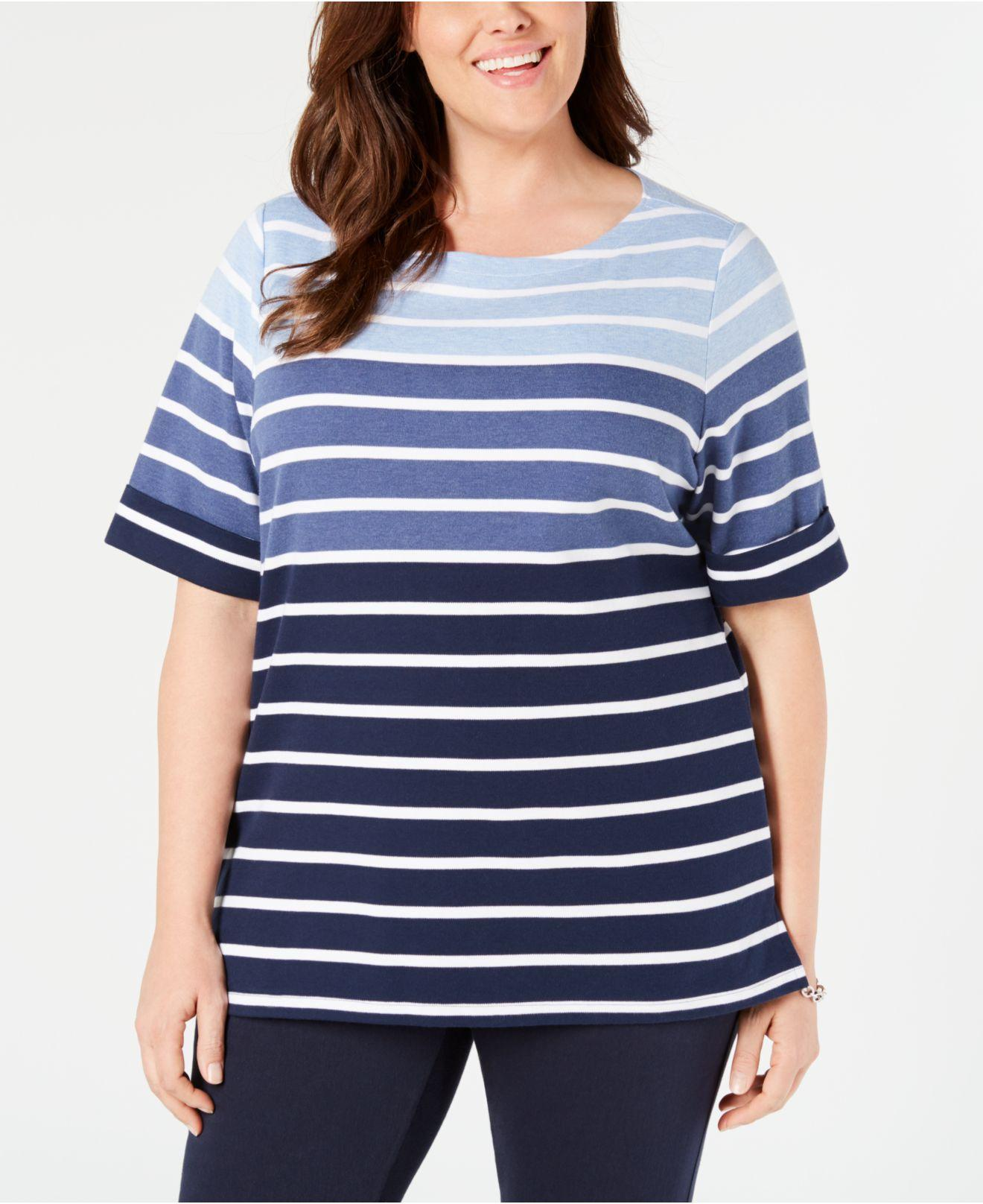 2b5553f9b72 Karen Scott. Women s Blue Plus Size Boat-neck Striped Top