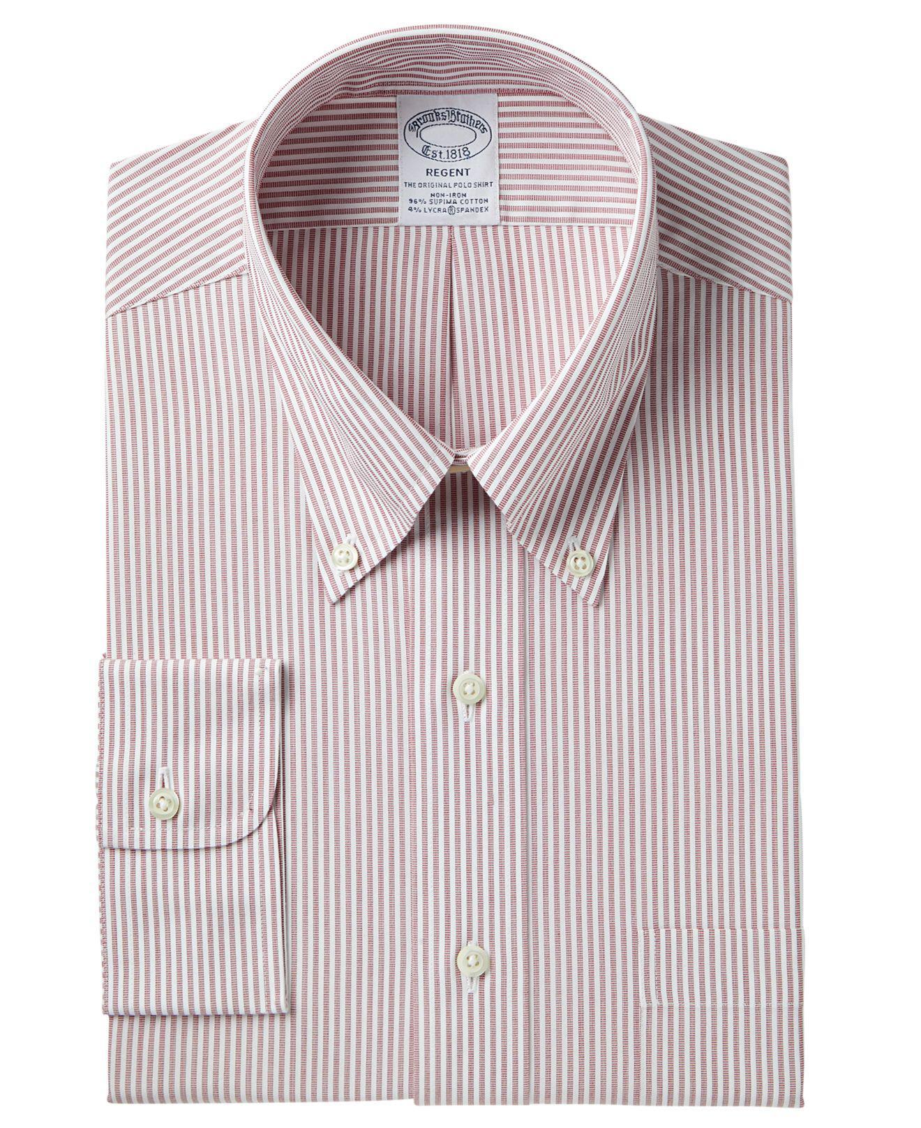 e511d5a2f8b0 Brooks Brothers. Men s Regent Slim-fit Non-iron Broadcloth Stretch Stripe  Dress Shirt