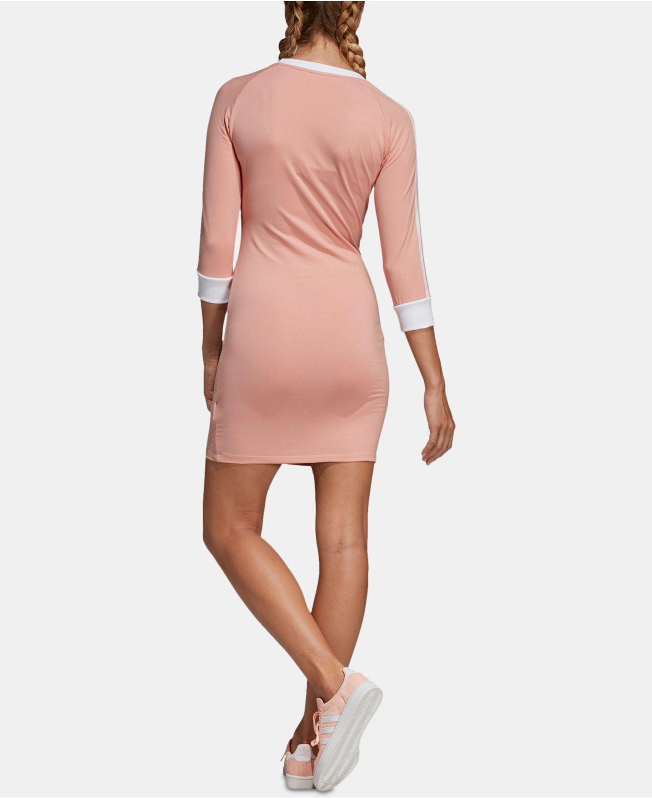 b785772f70a adidas Originals Adicolor 3-stripe Dress in Pink - Lyst