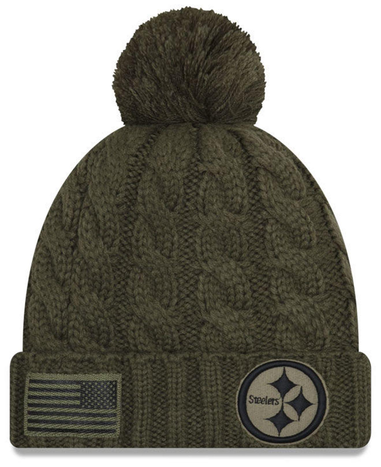 2b4d55e0bae Lyst - KTZ Pittsburgh Steelers Salute To Service Pom Knit Hat in Green
