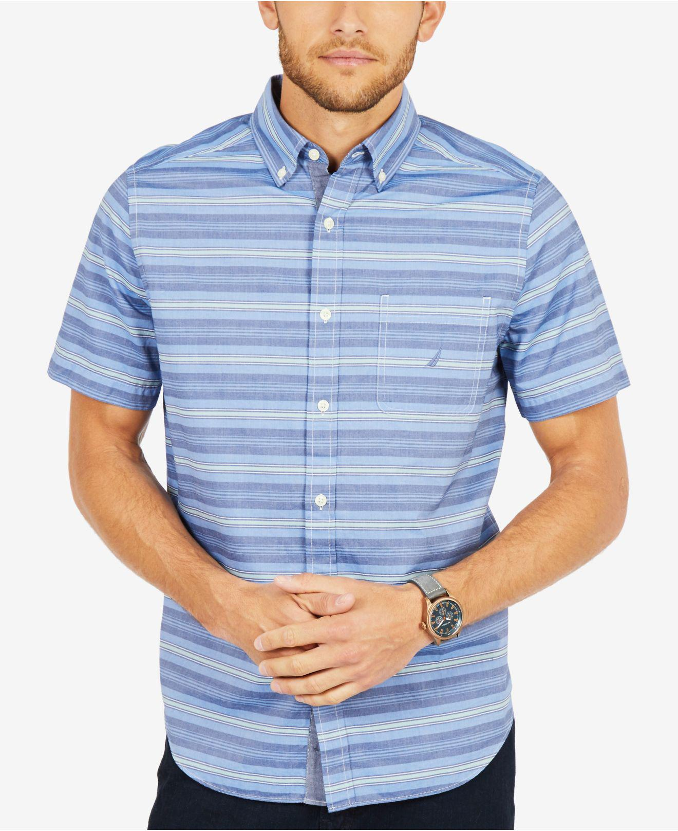 Lyst Nautica Casual Striped Classic Fit Short Sleeve Shirt In Blue
