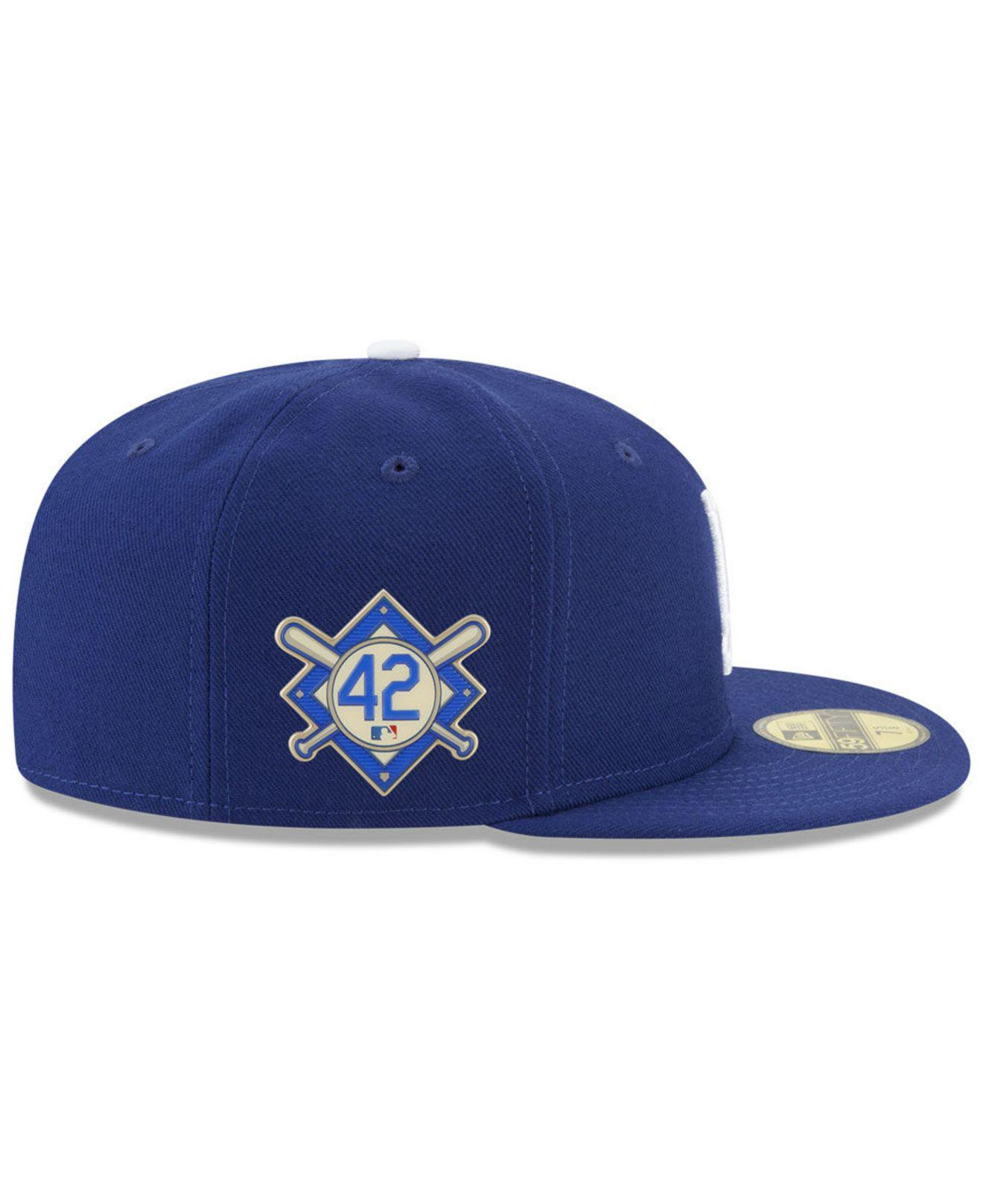 super popular 2a4ba 79bbf KTZ Los Angeles Dodgers Jackie Robinson Day 59fifty Fitted Cap in Blue for  Men - Lyst