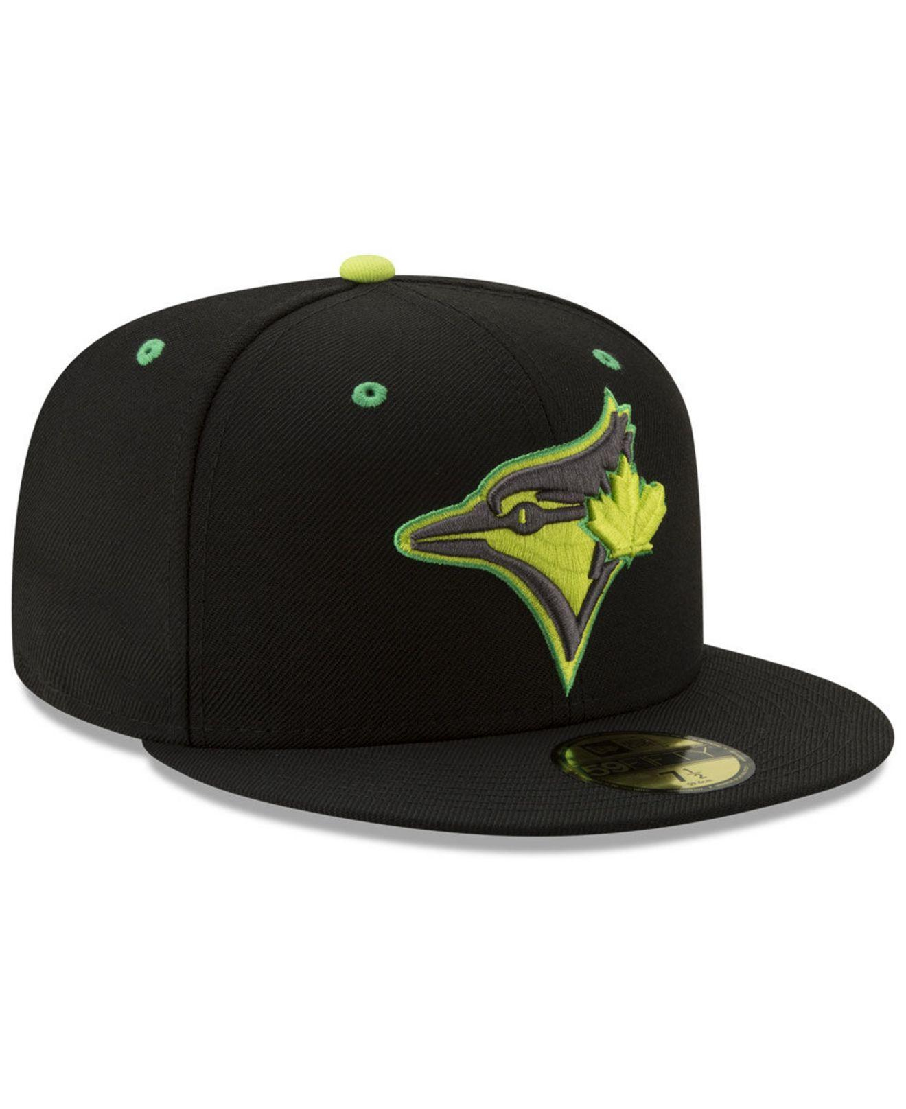 check out 7f535 1a33d KTZ - Black Toronto Blue Jays Night Moves 59fifty Fitted Cap for Men -  Lyst. View fullscreen