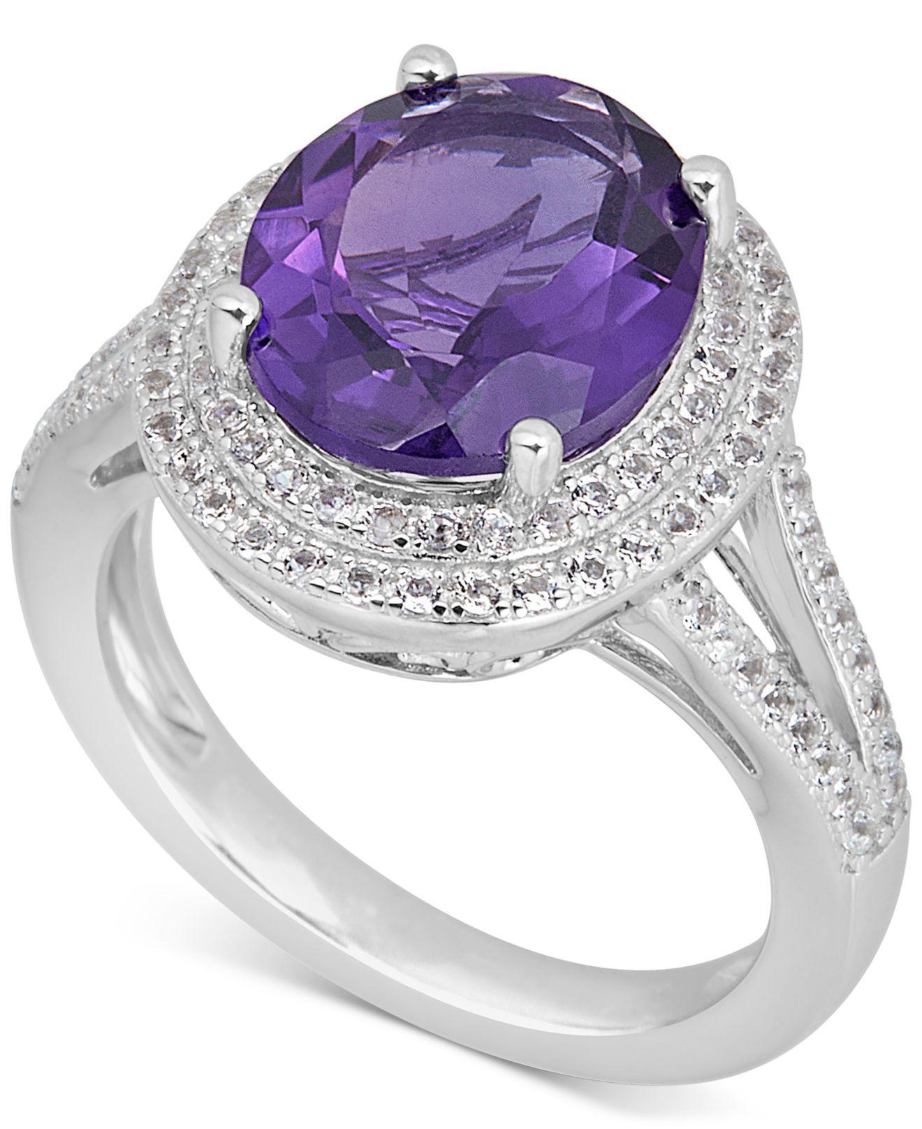 Gem Stone King Round Purple Amethyst White Topaz 18K Rose Gold Plated Silver Pendant 0.26 cttw