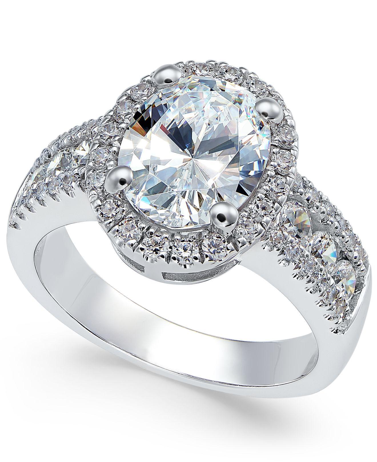 149da56904e2 Arabella. Women s Metallic Swarovski Zirconia Oval Halo Ring In Sterling  Silver