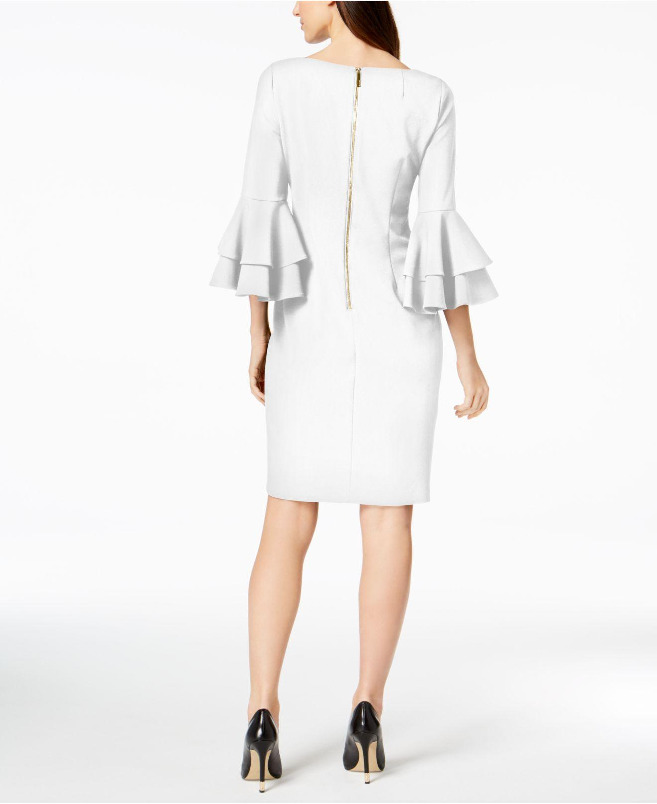 17d777209bd10 Lyst - Calvin Klein Tiered-bell-sleeve Sheath Dress in White