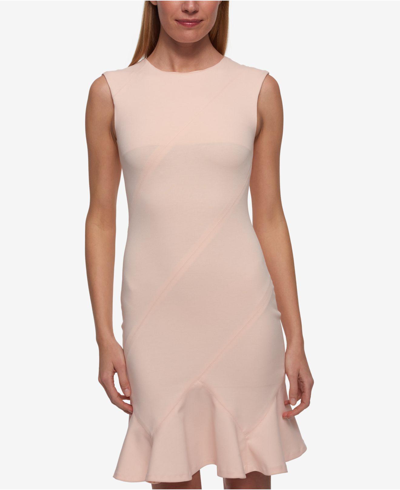 0f947a4833e1f Tommy Hilfiger Flounce-hem Sheath Dress in Pink - Lyst