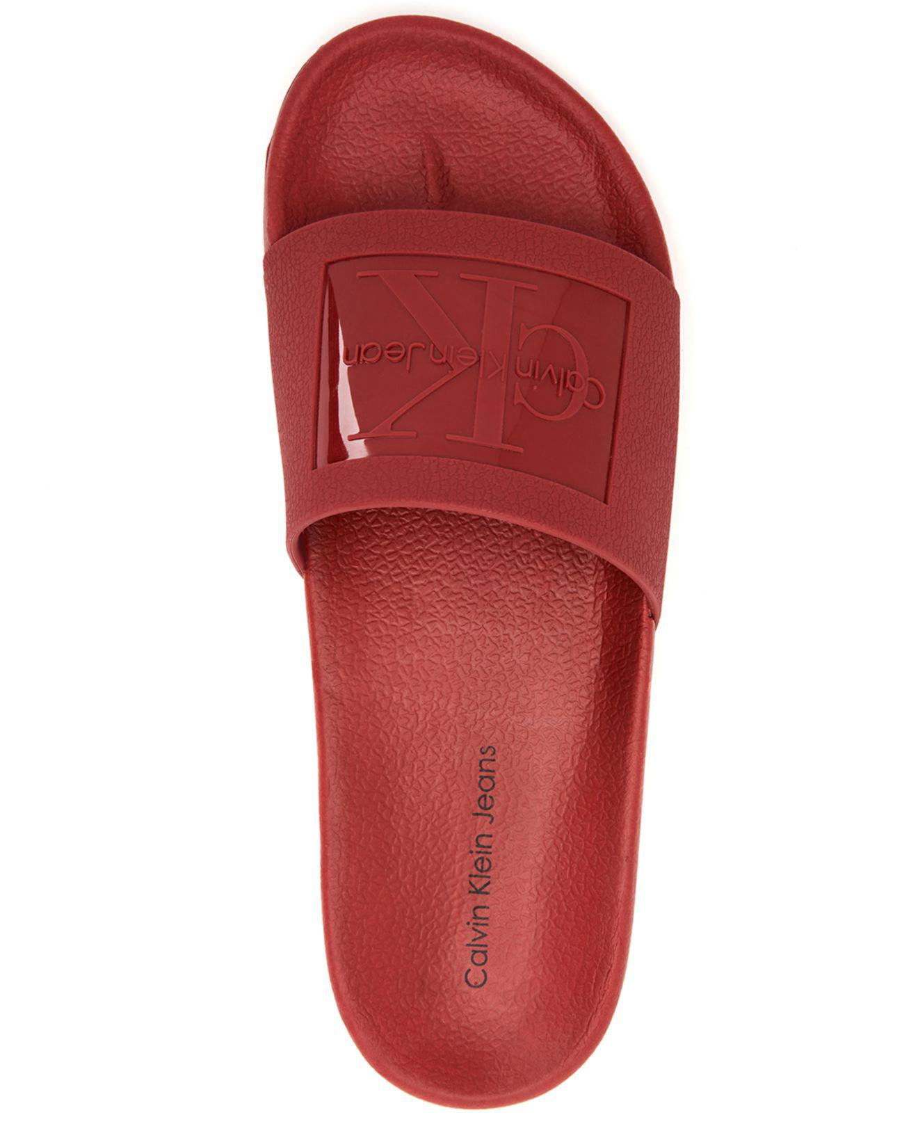 f266782fc8b2 Lyst - Calvin Klein Vincenzo Jelly Slides in Red for Men