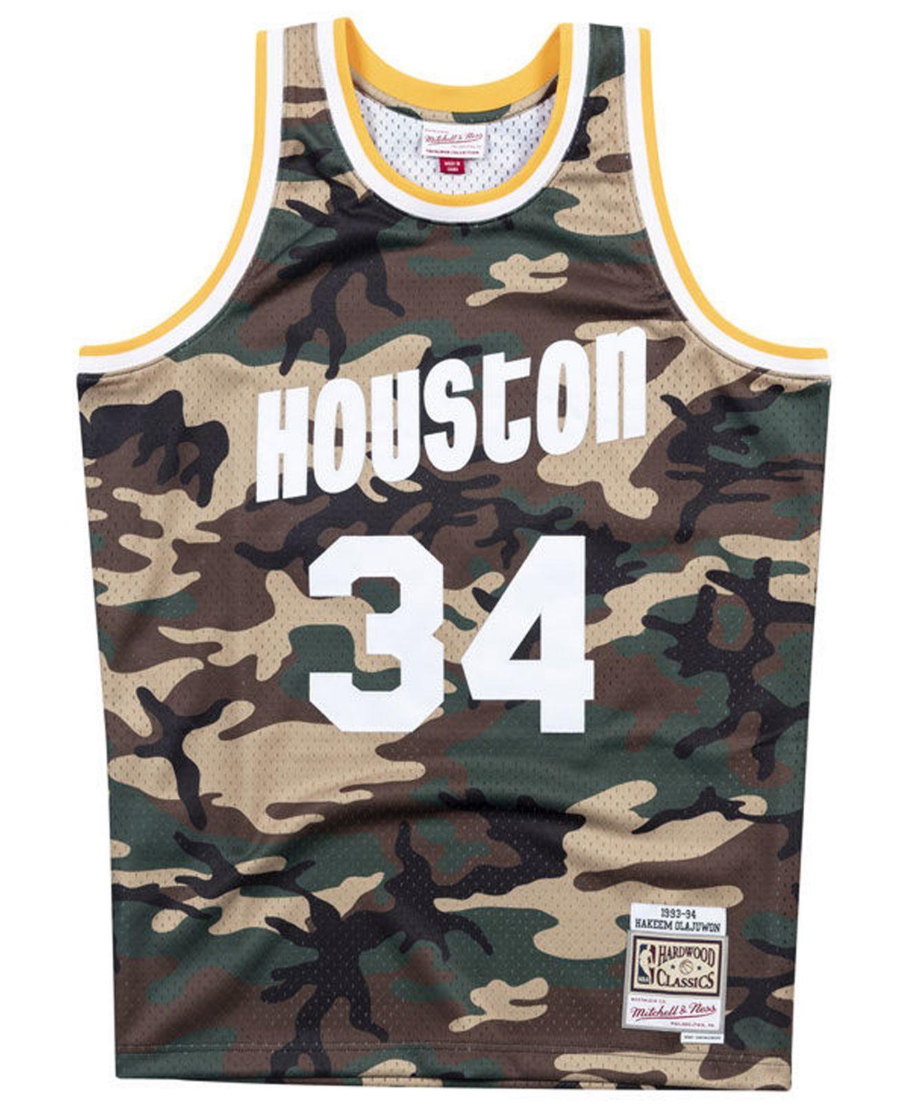 low priced 86da1 c803d Men's Hakeem Olajuwon Houston Rockets Woodland Camo Swingman Jersey