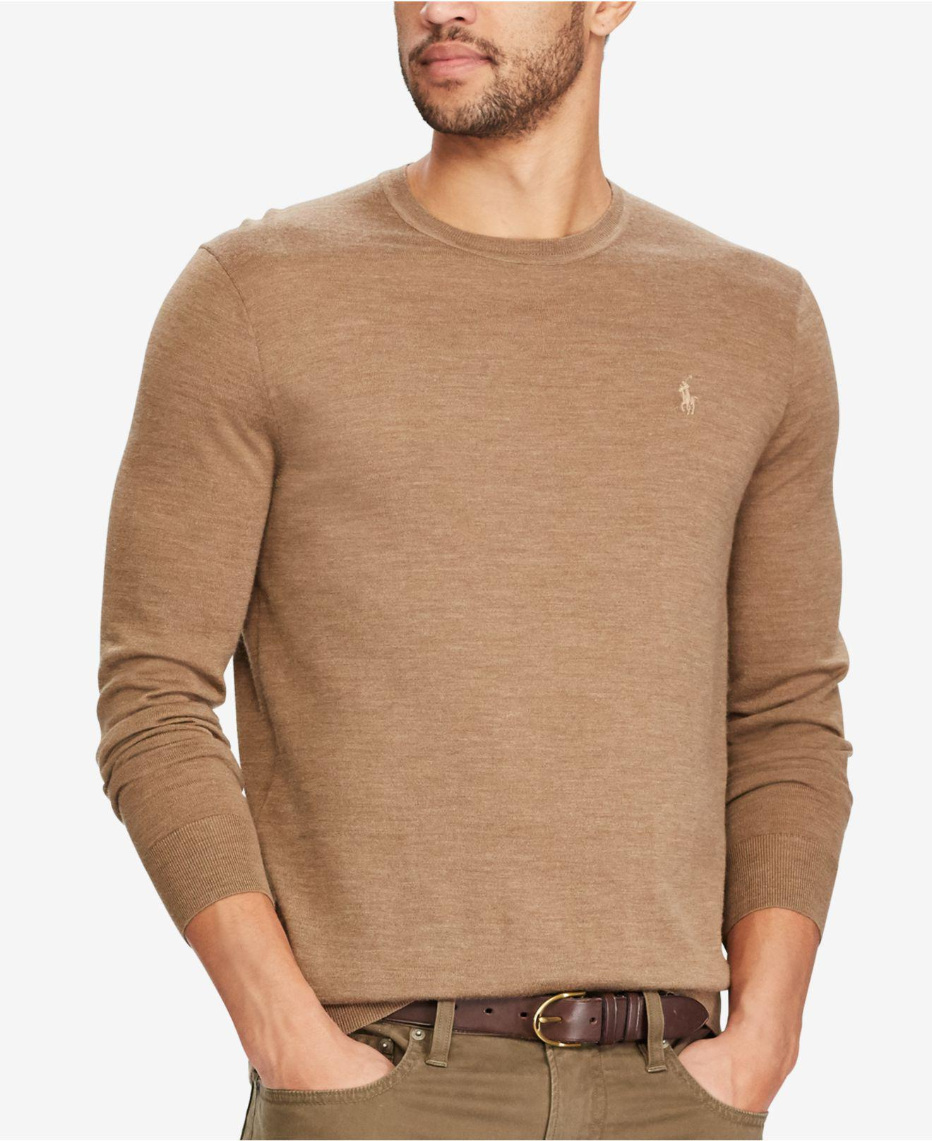 Polo ralph lauren Men's Merino Wool Sweater in Brown for Men | Lyst
