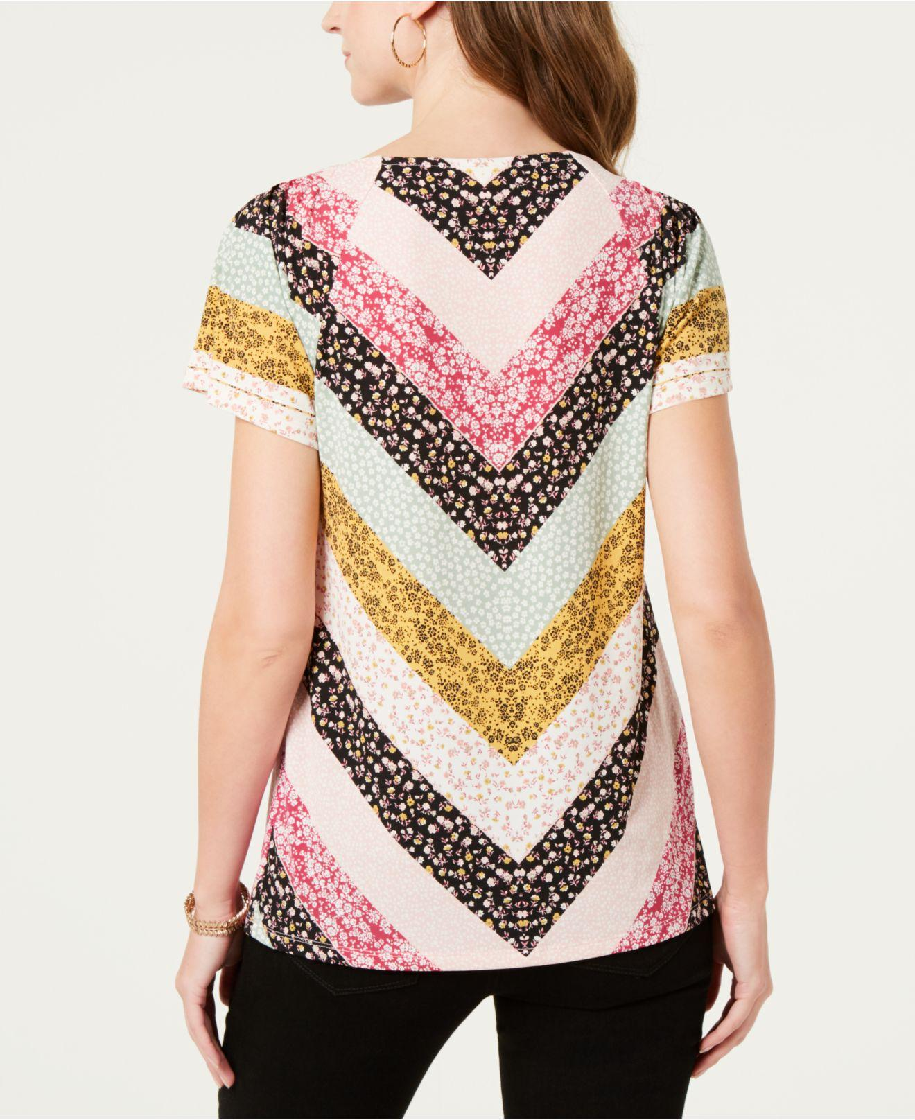 ce68c1b90e5 Lyst - Style & Co. Pleated-neck Floral-print Top, Created For Macy's in  Pink - Save 21%