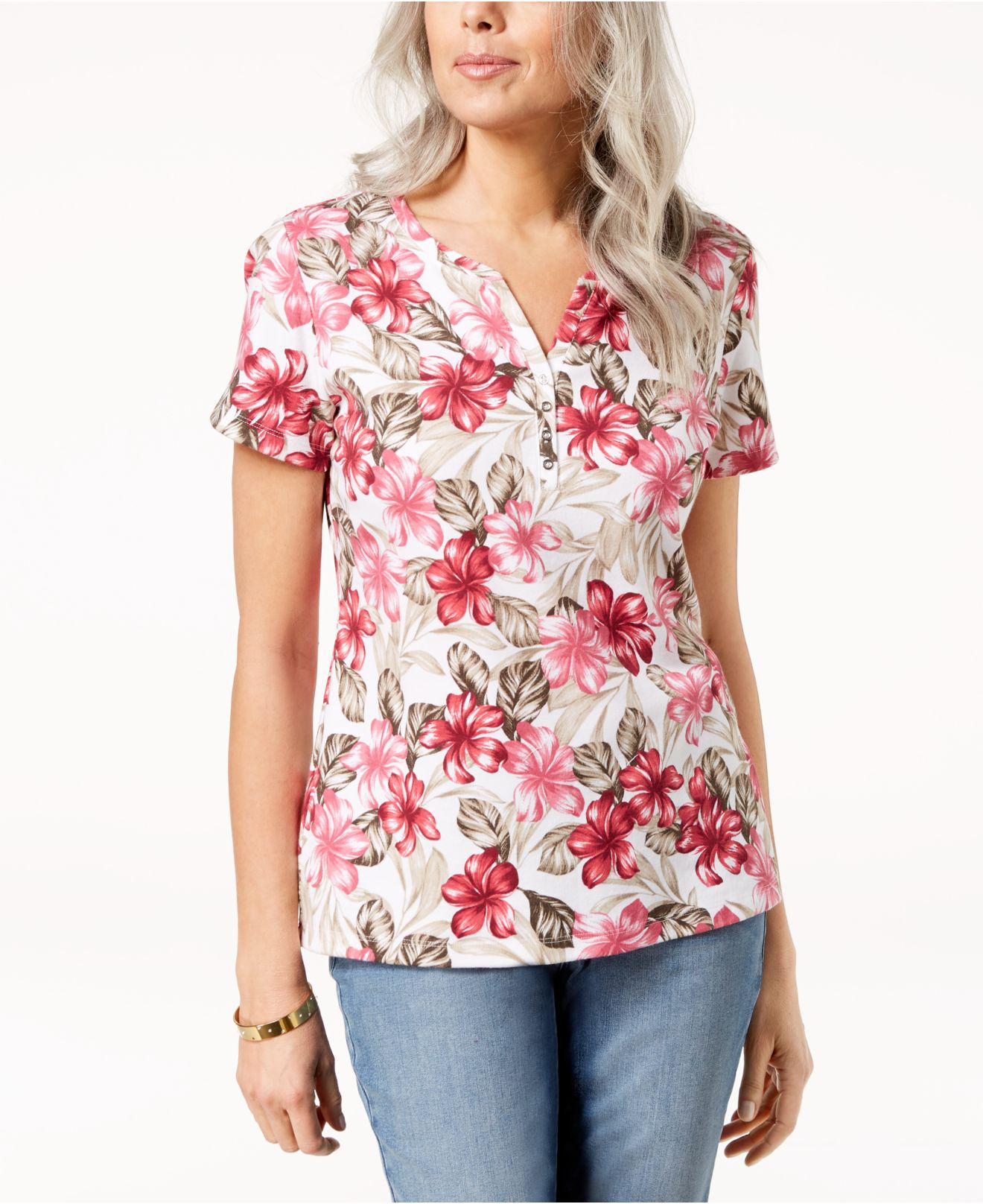 6990c226 Lyst - Karen Scott Printed Henley T-shirt, Created For Macy's in Red
