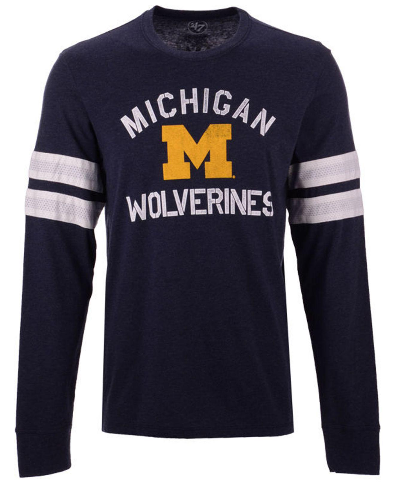 a05eaee0 Lyst - 47 Brand Michigan Wolverines Long Sleeve Scramble T-shirt in ...