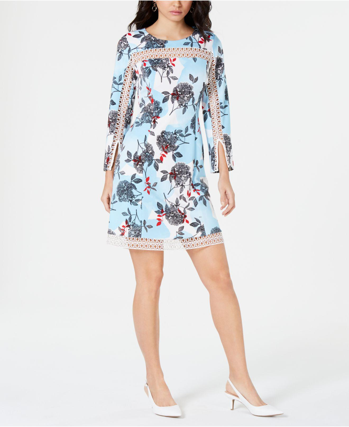 12496664944f3 Lyst - Alfani Floral-print Illusion-trim Dress, Created For Macy's ...