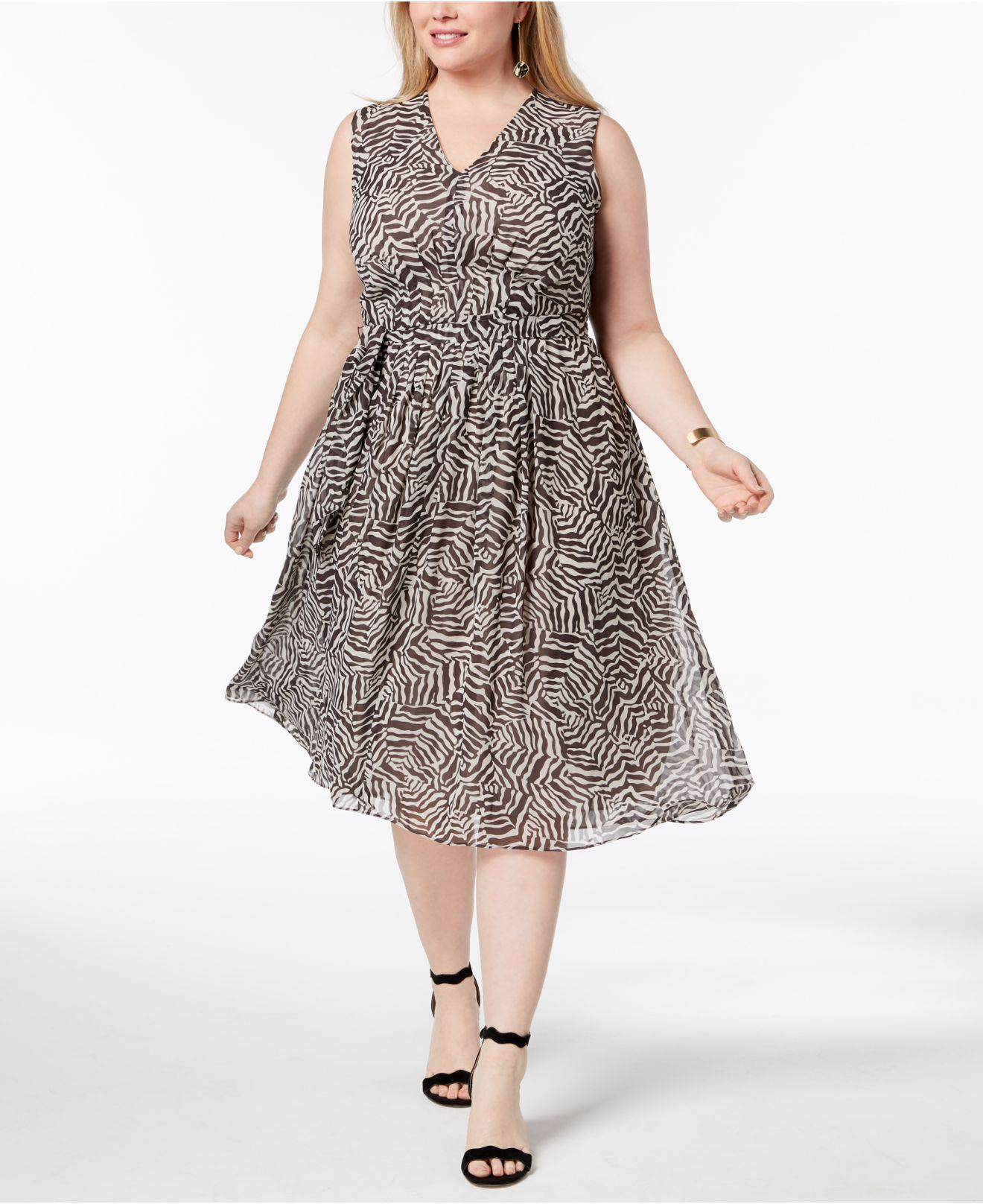 52292de7e4435 Lyst - Anne Klein Plus Size Pleated A-line Midi Dress in Gray