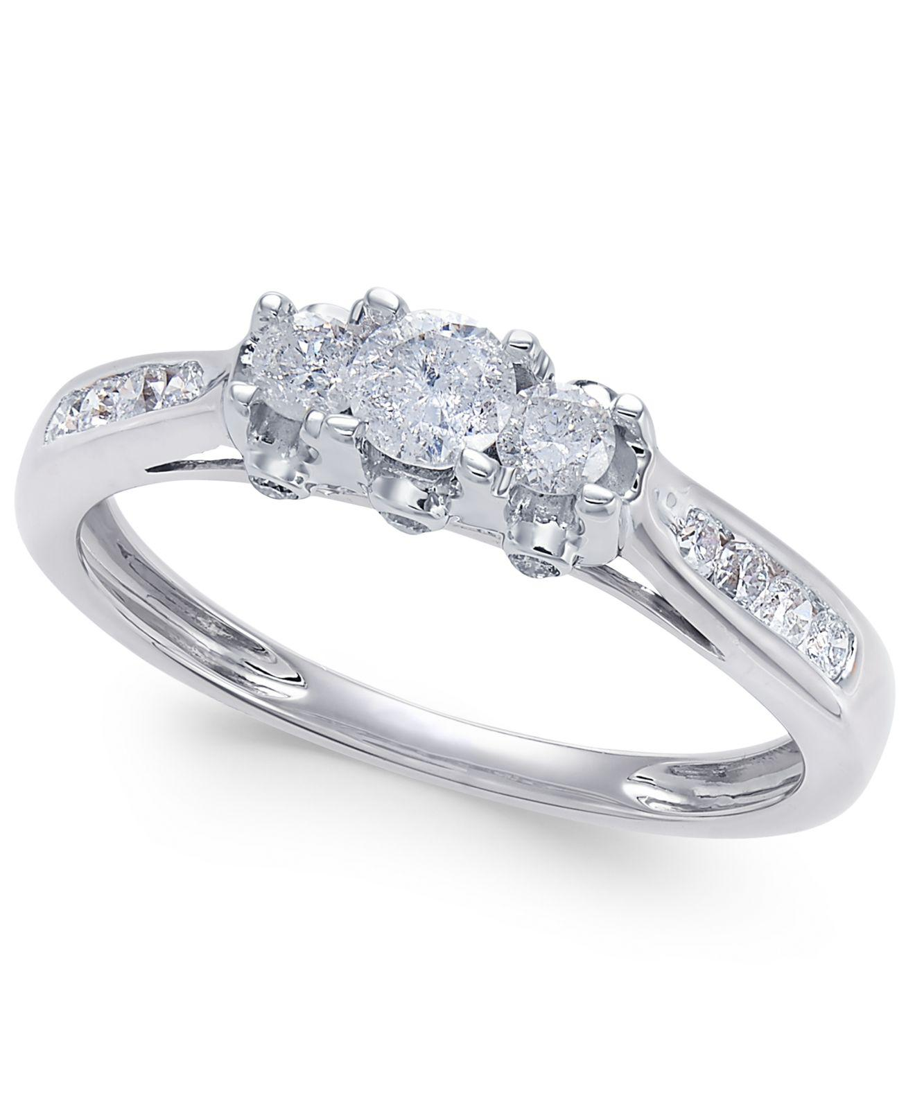 Macy's Diamond Trinity Engagement Ring (1/2 Ct. T.w.) In