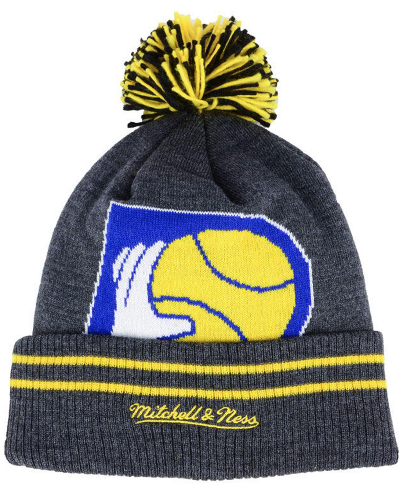 the latest 16720 35aa9 greece indiana pacers 47 brand breakaway cuff knit beanie dc778 8af2c   where can i buy lyst mitchell ness indiana pacers black heather hi 5 pom  knit for