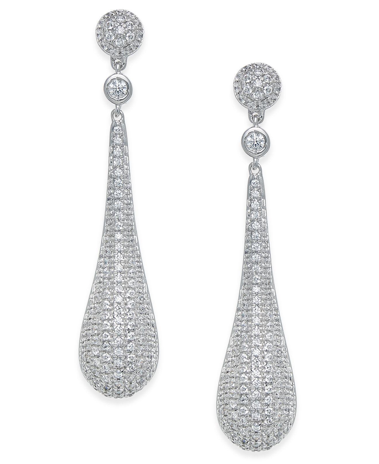 Macy S Women Diamond Pavé Drop Earrings
