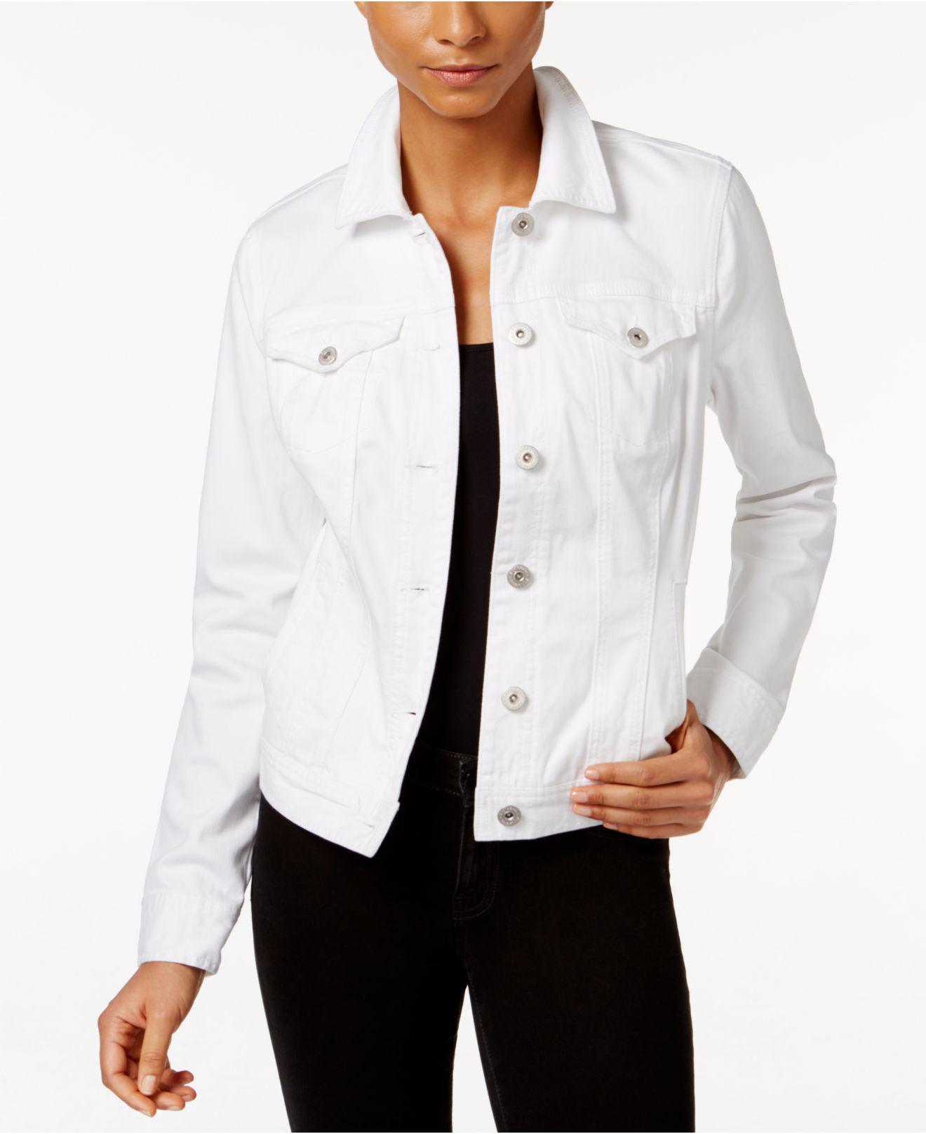 12a3b61e311 Lyst - Style   Co. Petite Denim Bright White Wash Jacket in Blue ...
