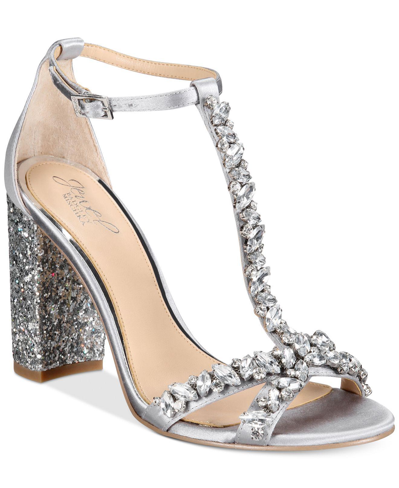 Lyst - Badgley Mischka Carver Block-heel Evening Sandals in Metallic