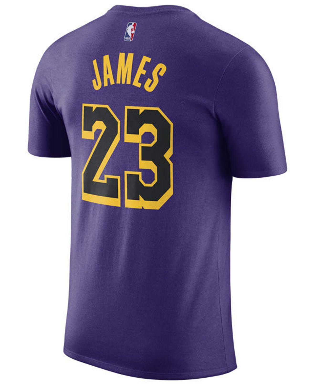 info for 69744 3e575 Men's Purple Lebron James Los Angeles Lakers City Player T-shirt 2018