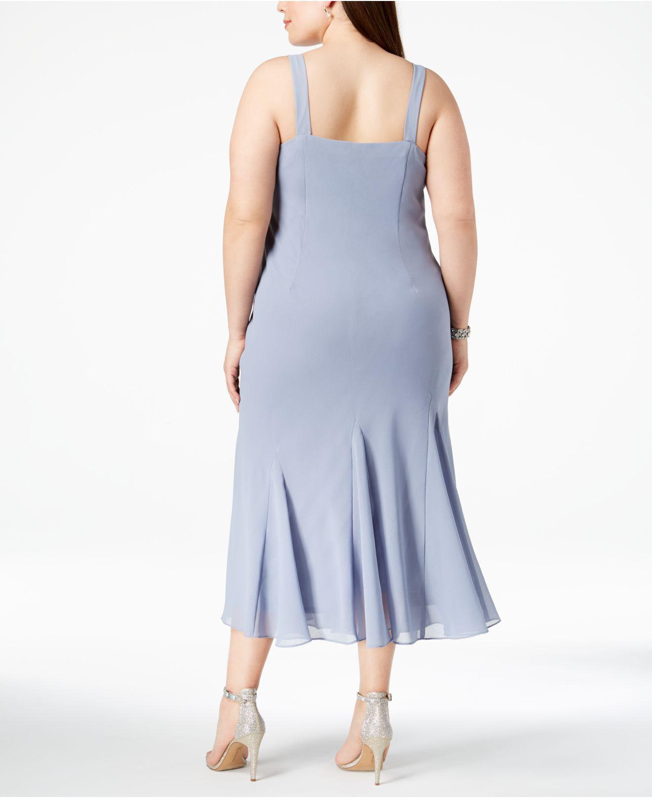 Women\'s Blue R&m Richards Plus Size Beaded V-neck Dress And Jacket