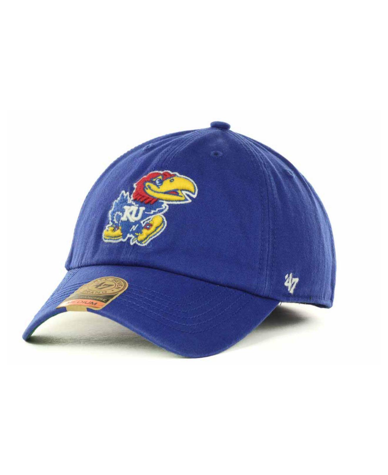 d1ed9479a6d79 Lyst - 47 Brand Kansas Jayhawks Franchise Cap in Blue for Men