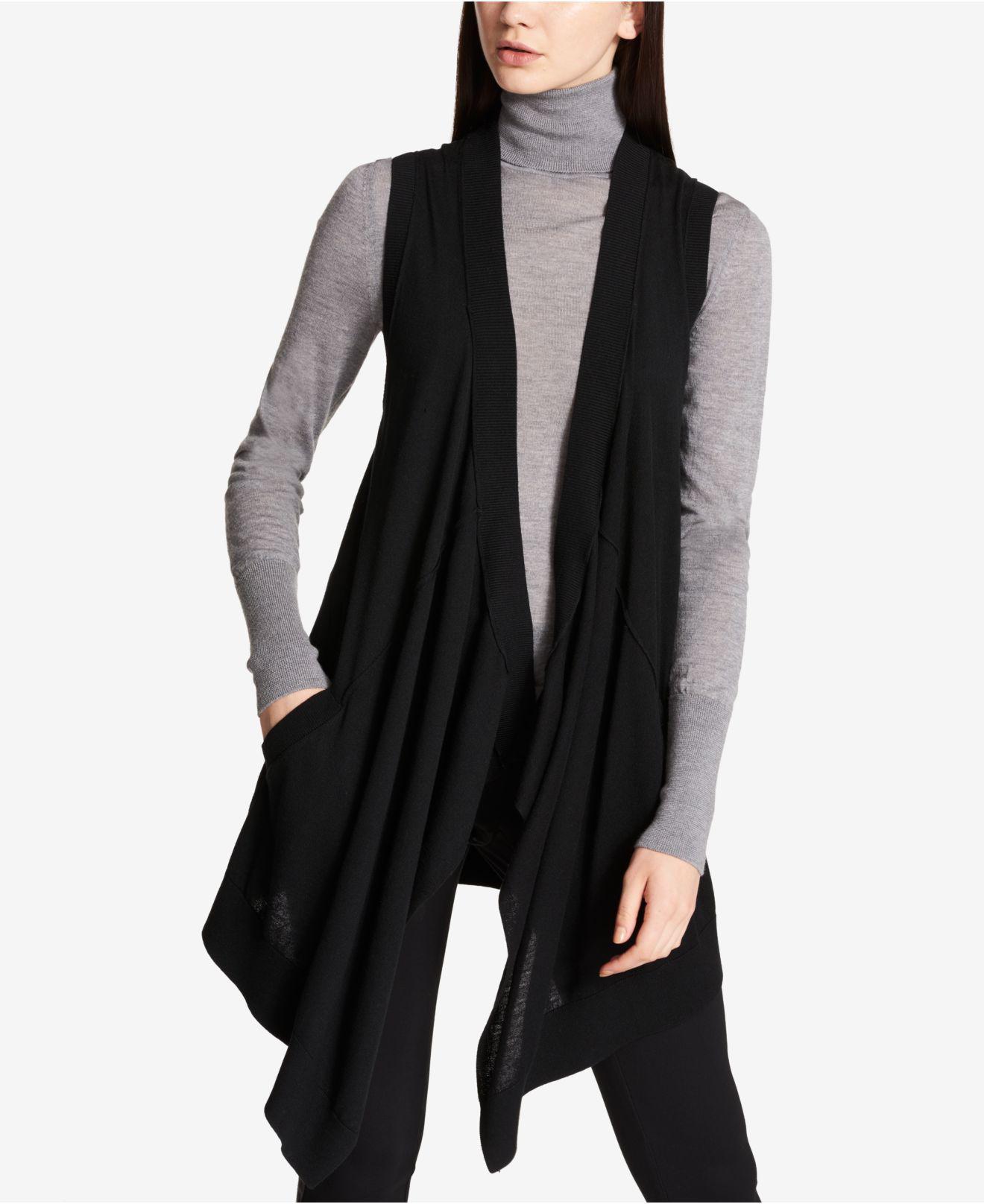 Dkny Long Waterfall Sweater Vest in Black | Lyst