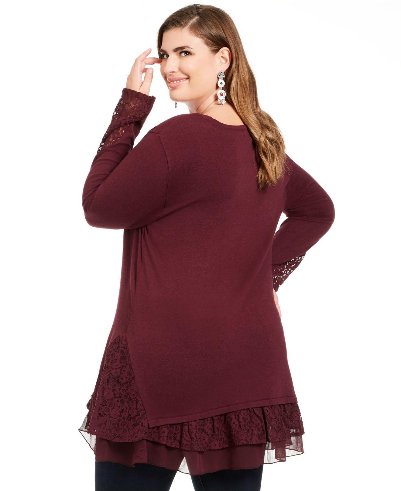 ANN HARVEY New Rust Red//Brown Lace Trim Blouse Top Tunic Size 20