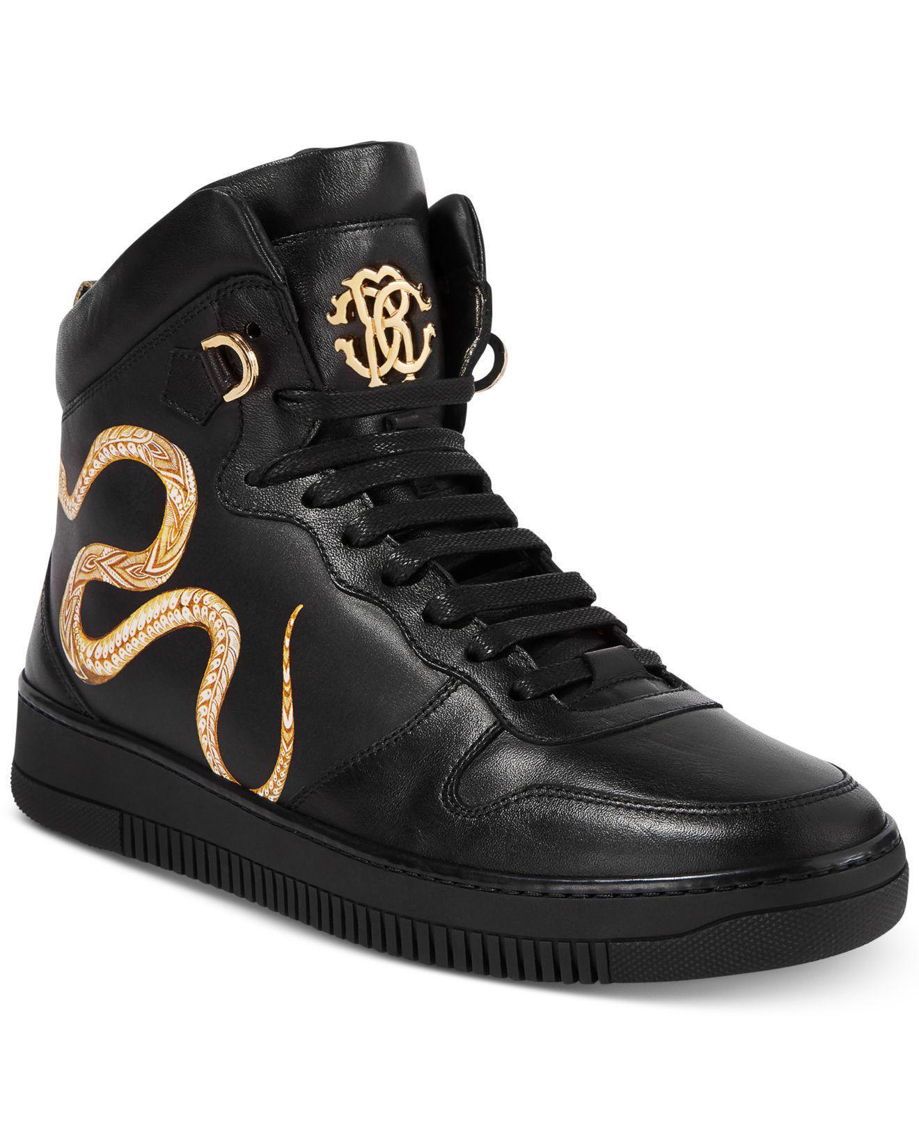 3730479fba5 Roberto Cavalli Black Men's Leather Gold Hightop Sneakers for men
