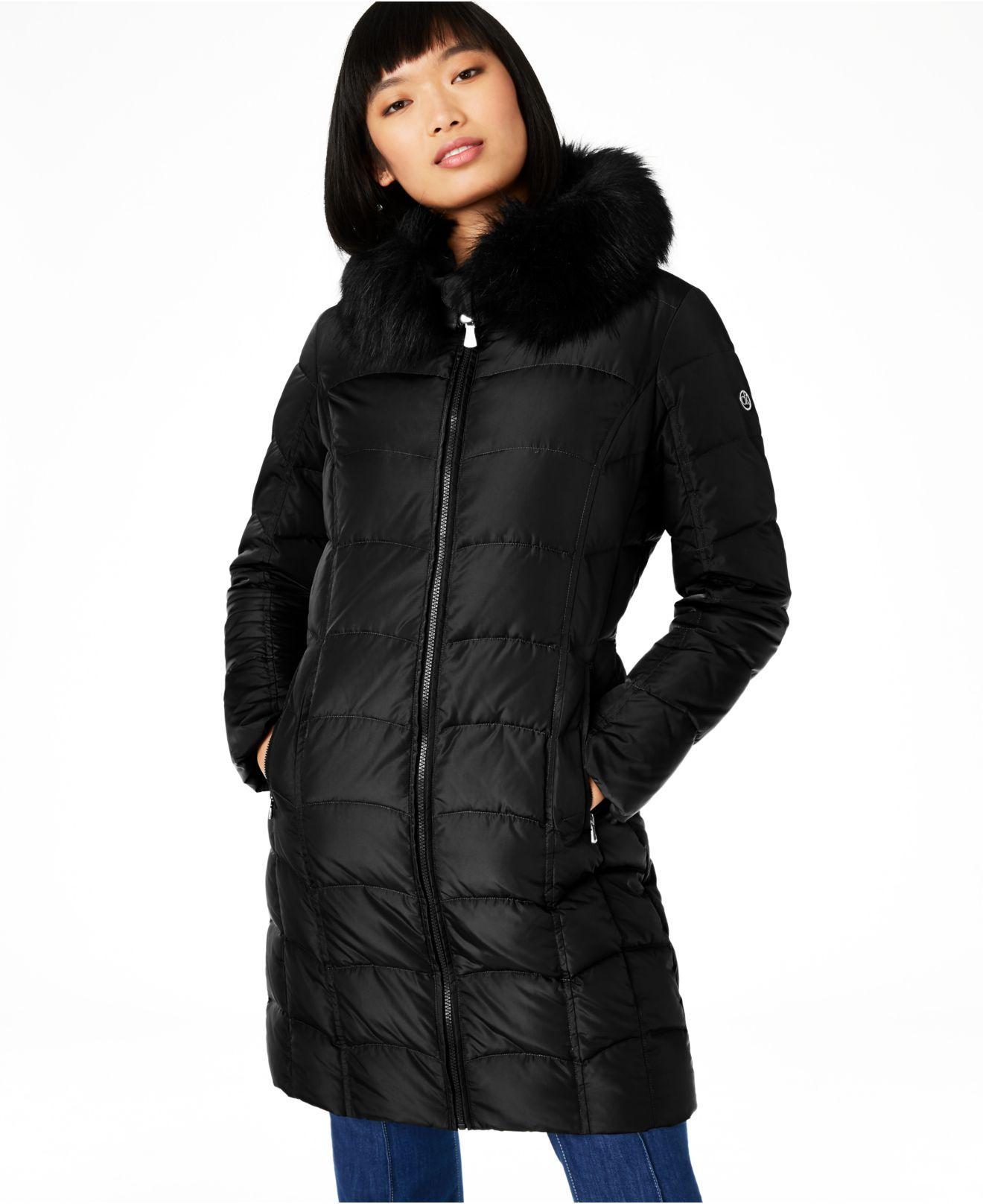 Calvin Klein Hooded Faux-fur-trim Down Puffer Coat ...