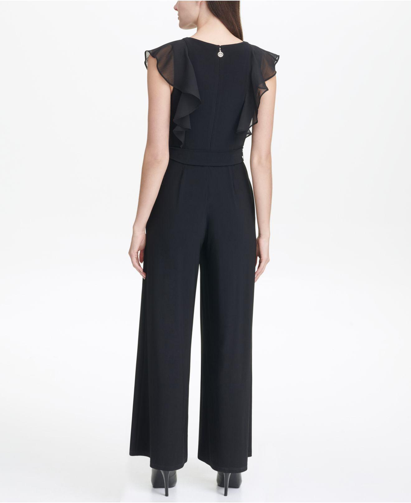 b2c6c396831 Lyst - Tommy Hilfiger Chiffon V-neck Jersey Jumpsuit With Flutter Sleeves  in Black