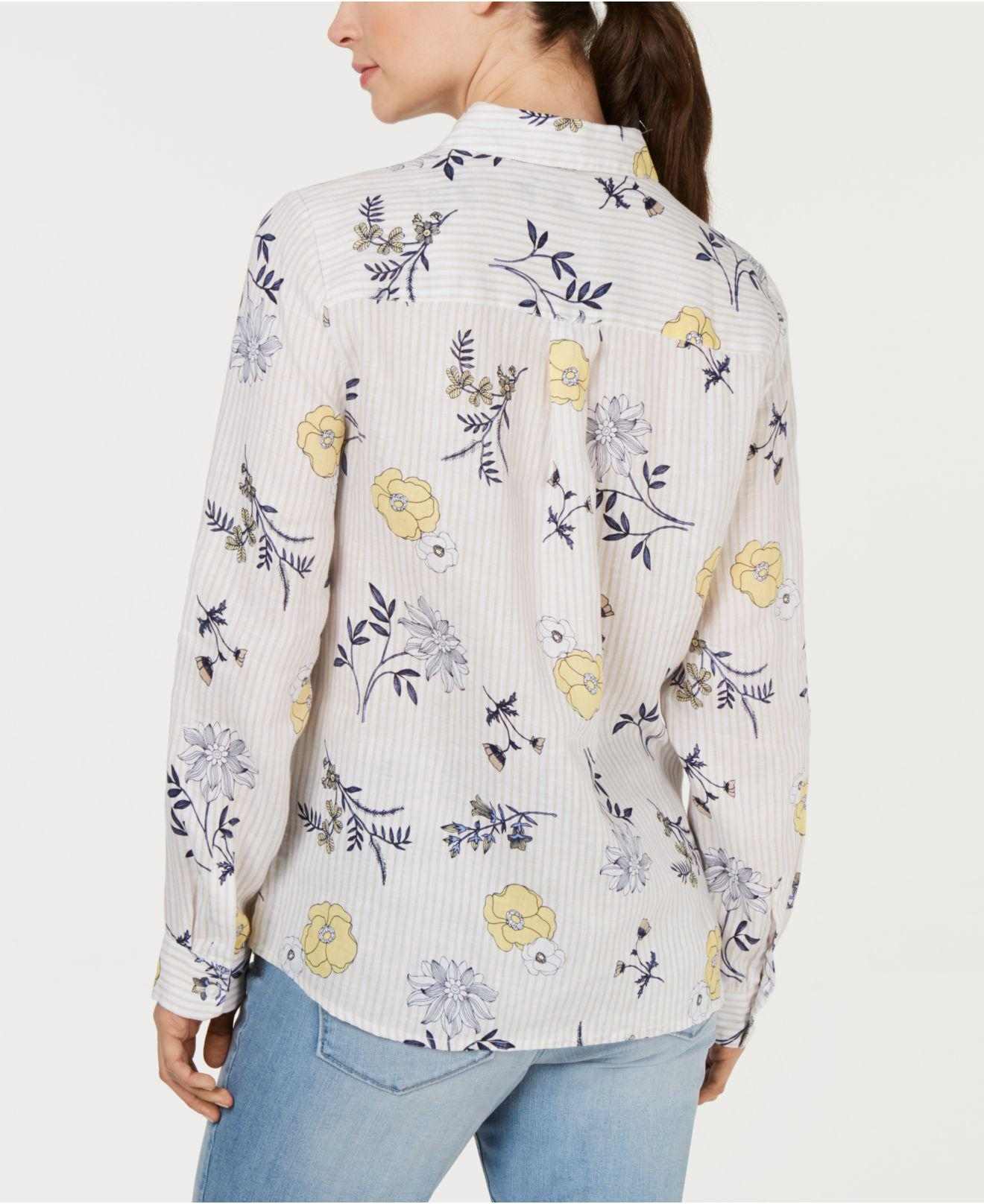66050ec887e Lyst - Charter Club Linen Floral-print Utility Shirt