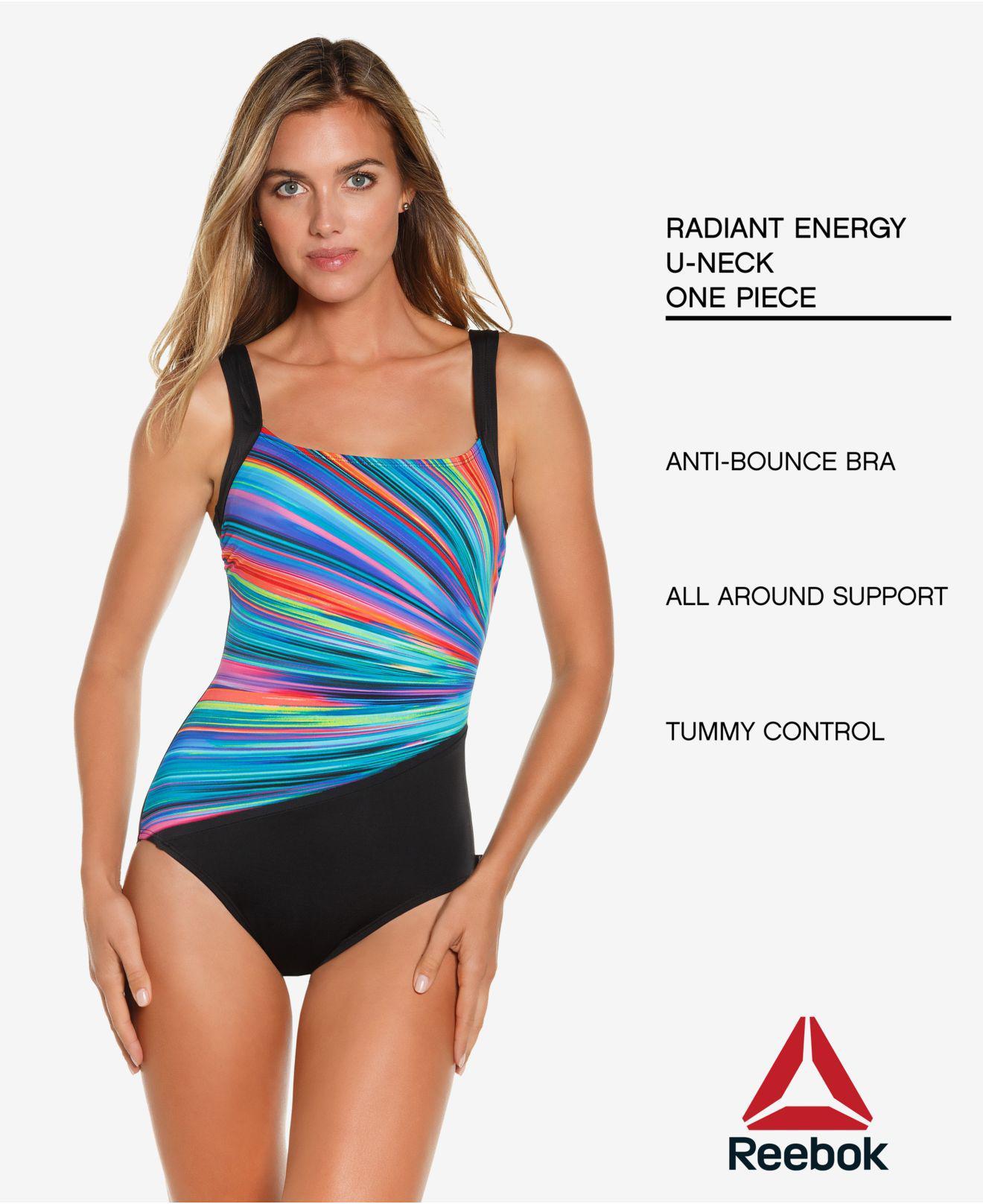 4c80bebc1b Reebok Radiant Energy Printed Tummy-control One-piece Swimsuit - Lyst