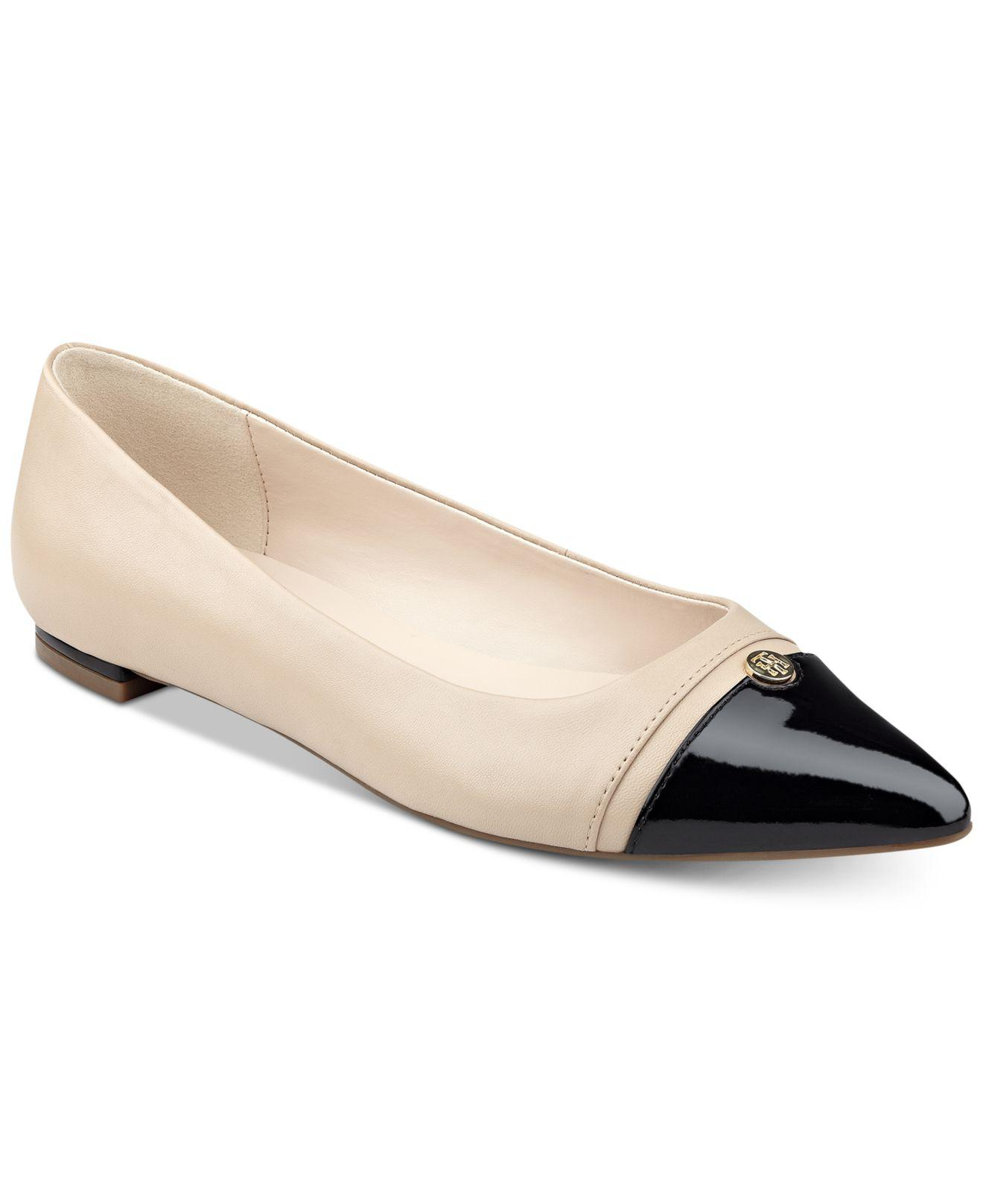 5b64c06a8a40db Lyst - Tommy Hilfiger Thalia Pointed-toe Flats in Natural