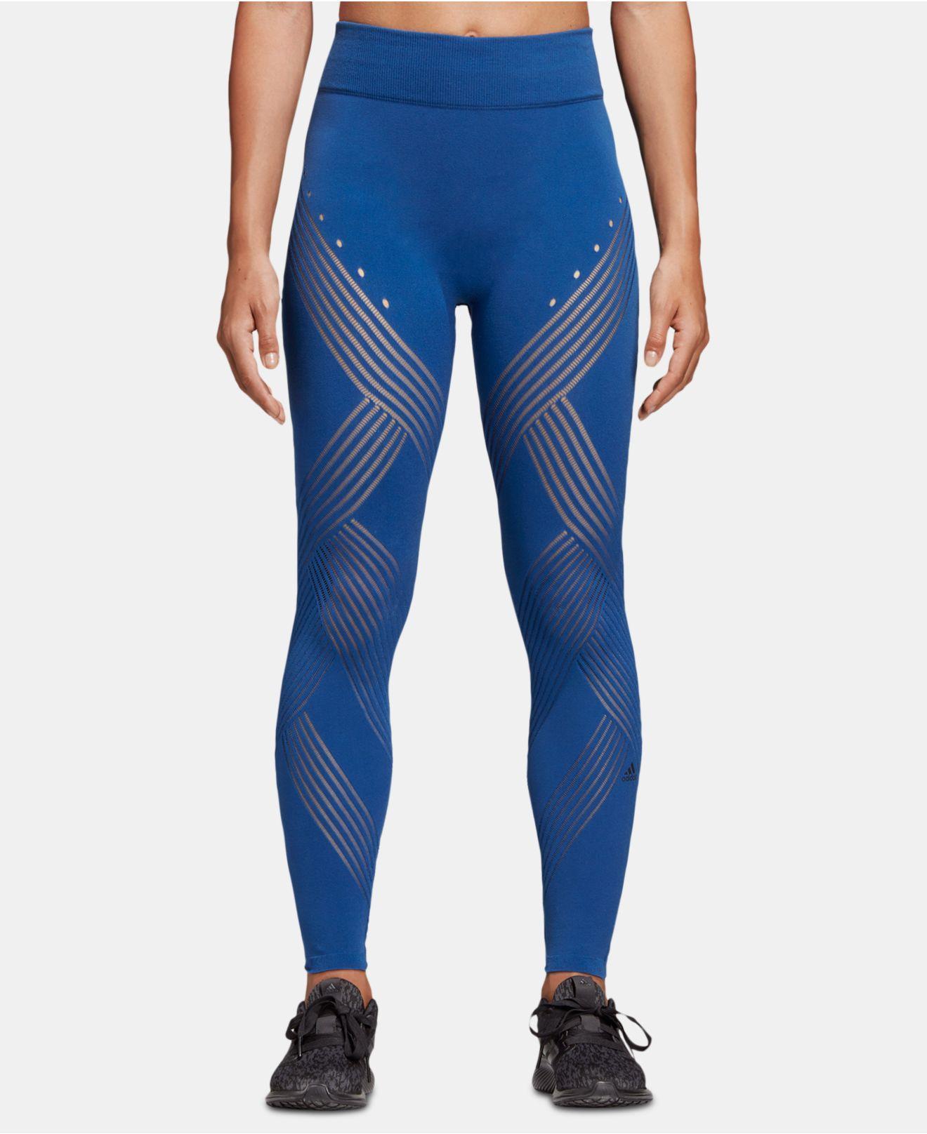 9a6abb803c6311 Lyst - adidas Warp Knit Ankle Leggings in Blue
