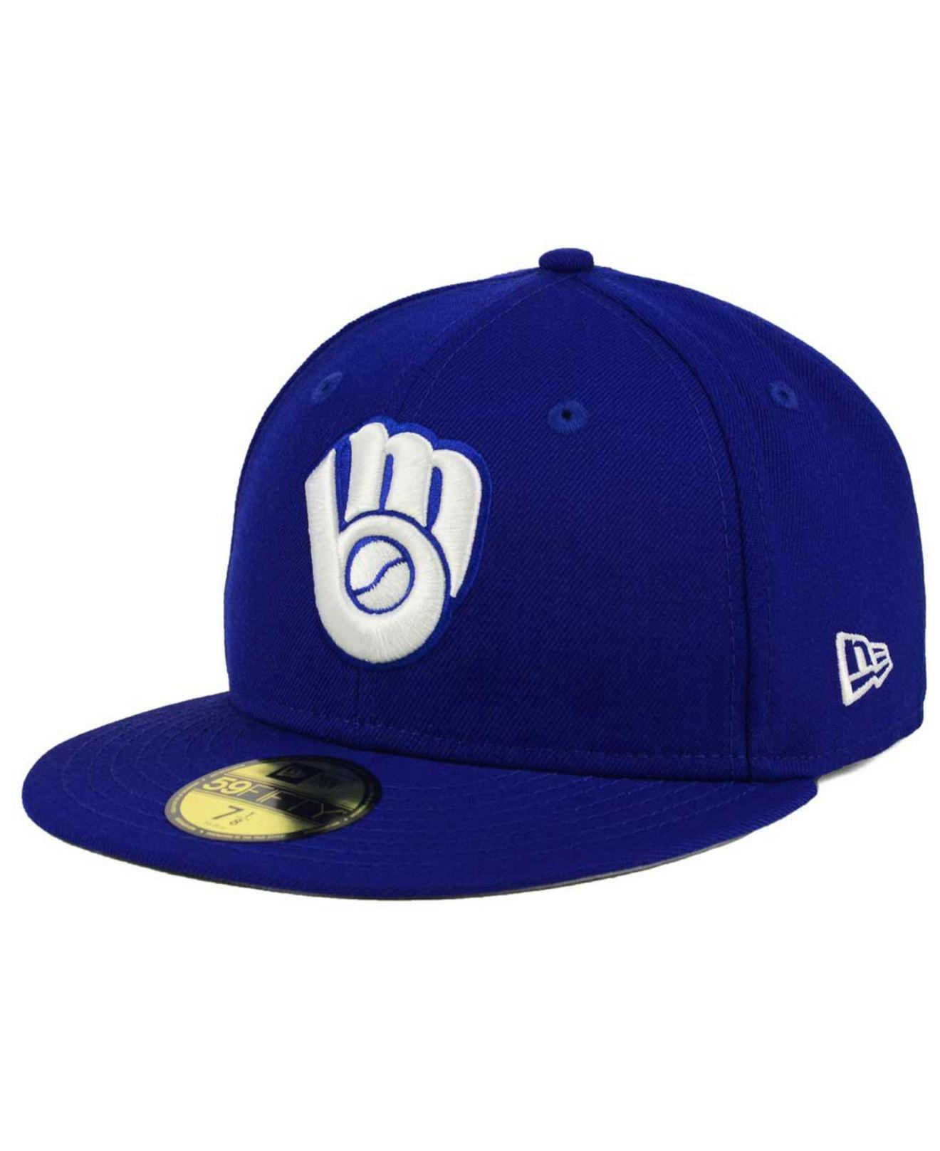 wholesale dealer b9ee4 ebc1e ... ireland ktz. mens blue milwaukee brewers c dub patch 59fifty fitted cap  58252 506c2 ...