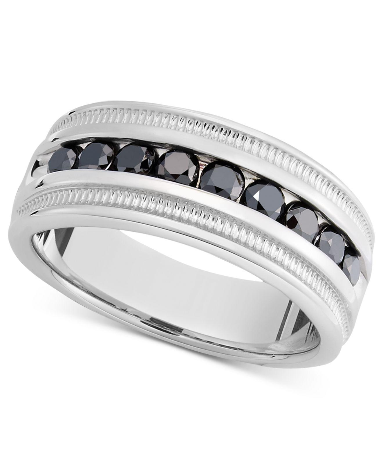 59f8b3879 Macy's Metallic Men's Sterling Silver Ring, Black Diamond Band (1 Ct.  T.w.). View fullscreen